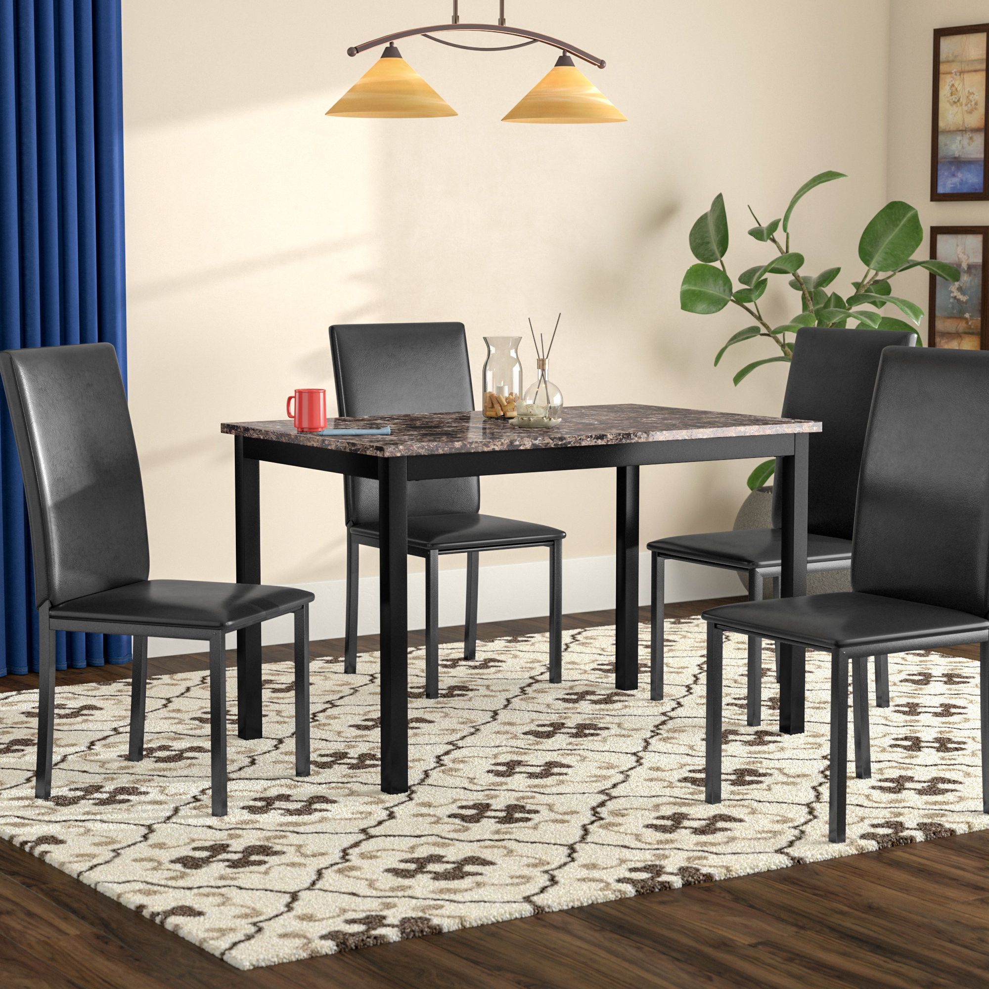 Red Barrel Studio Noyes 5 Piece Dining Set & Reviews | Wayfair With Regard To Newest Anette 3 Piece Counter Height Dining Sets (View 19 of 20)