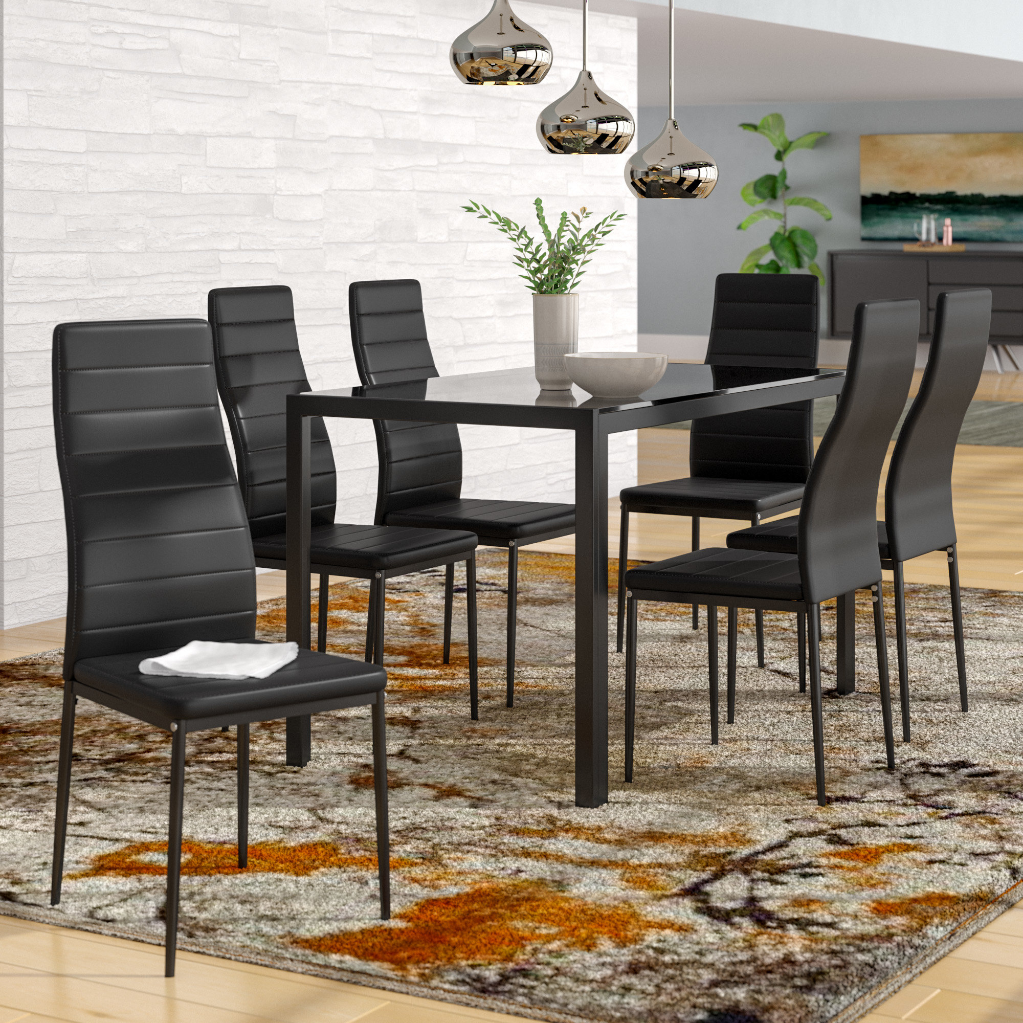 Renick Modern 7 Piece Dining Set In Most Popular Noyes 5 Piece Dining Sets (View 9 of 20)