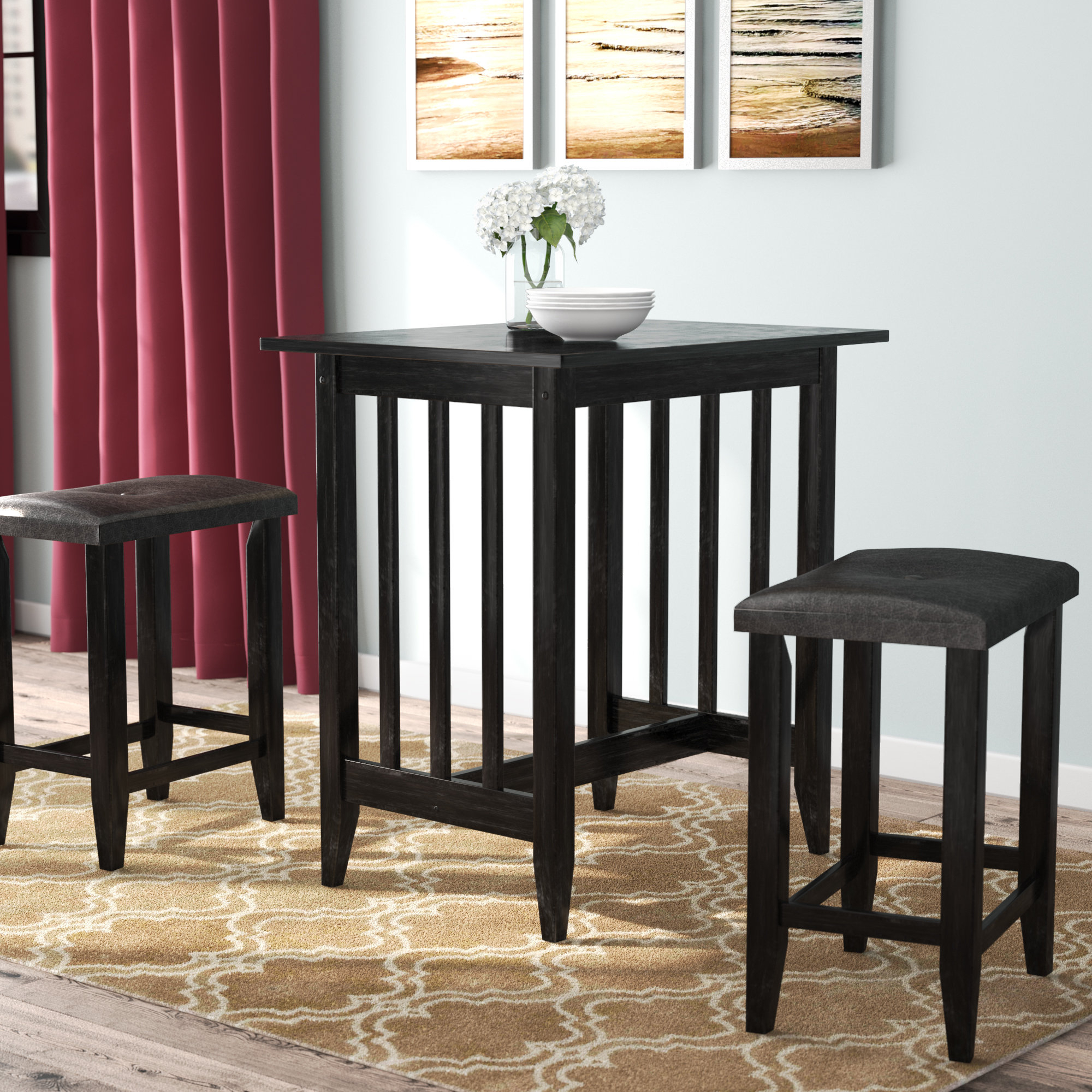 Richland 3 Piece Counter Height Pub Table Set In Most Up To Date Hood Canal 3 Piece Dining Sets (Image 15 of 20)