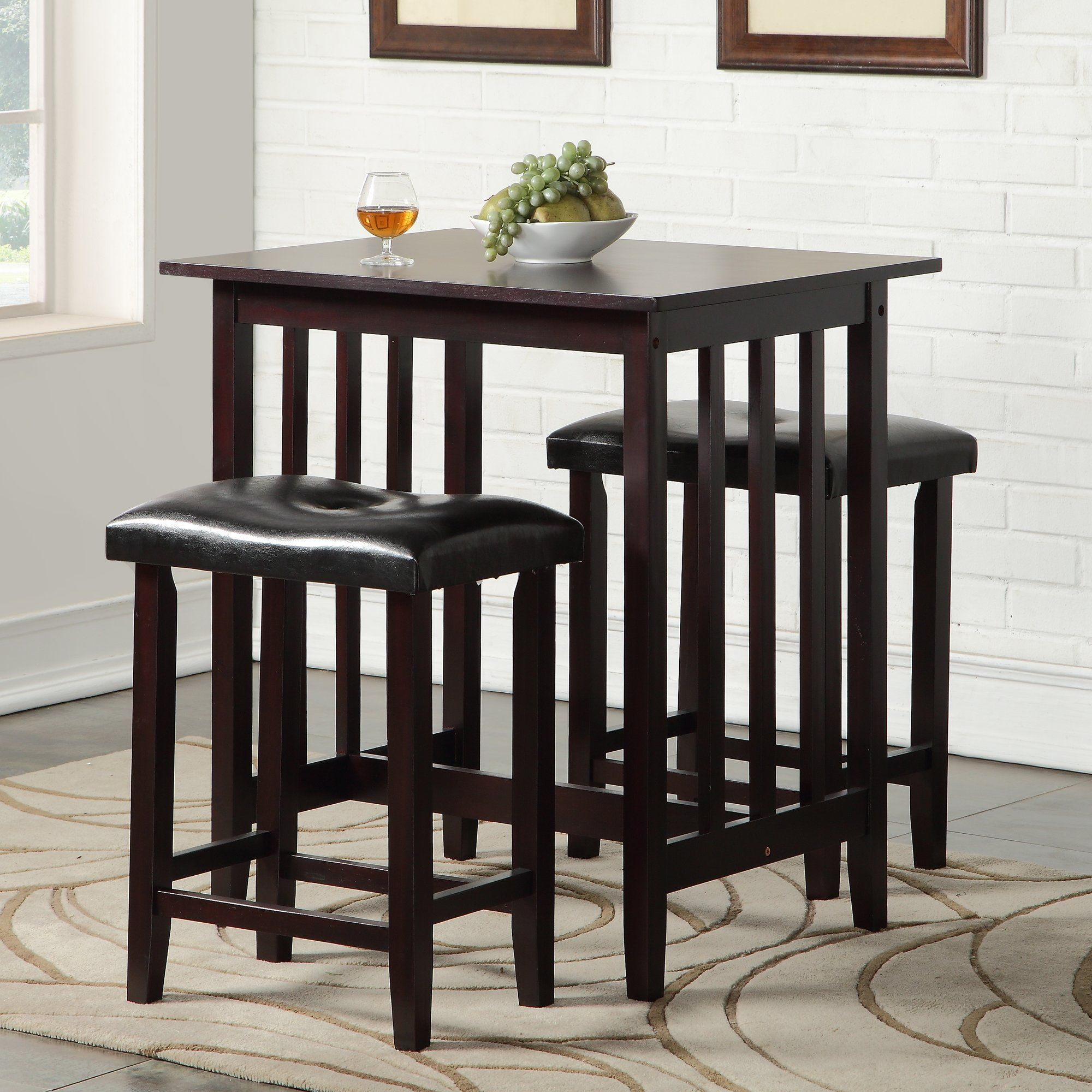 Richland 3 Piece Counter Height Pub Table Set | Products | Pub Table Within Newest Bettencourt 3 Piece Counter Height Solid Wood Dining Sets (View 13 of 20)