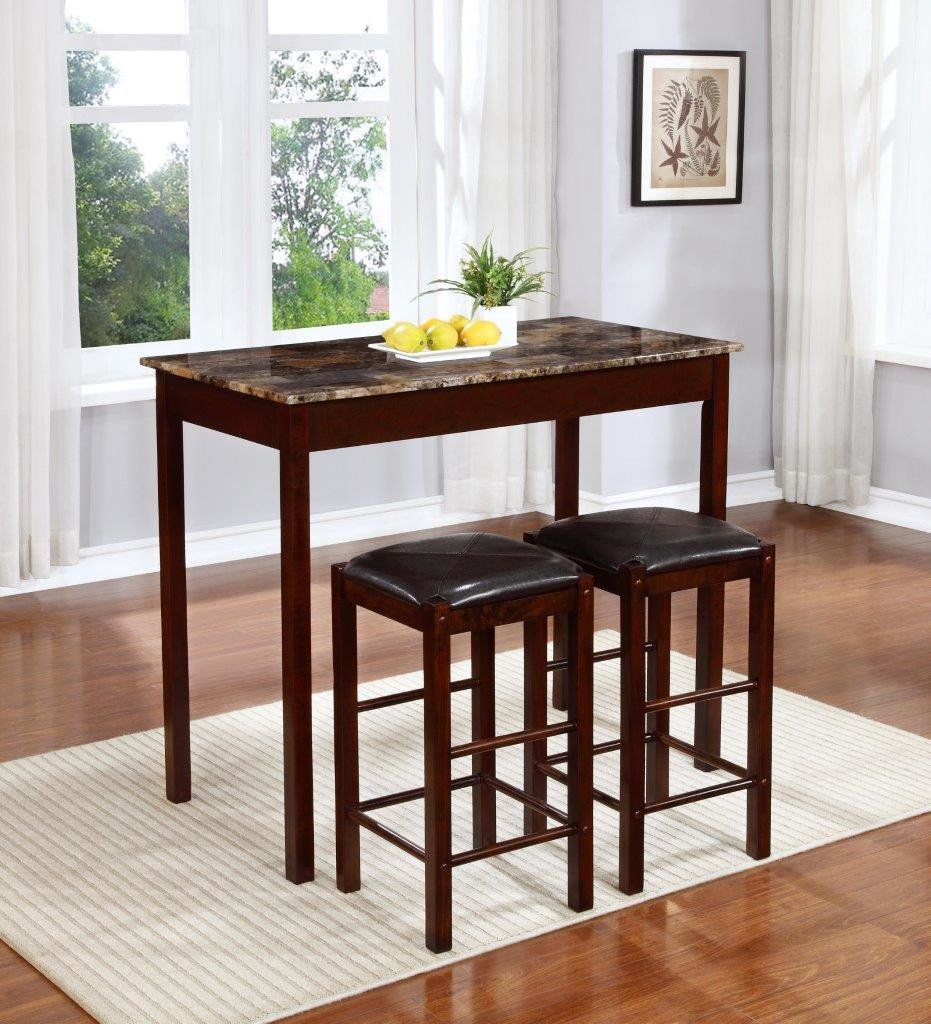 Rockford 3 Piece Faux Marble Counter Height Pub Table Set Inside Most Popular Crownover 3 Piece Bar Table Sets (Image 15 of 20)