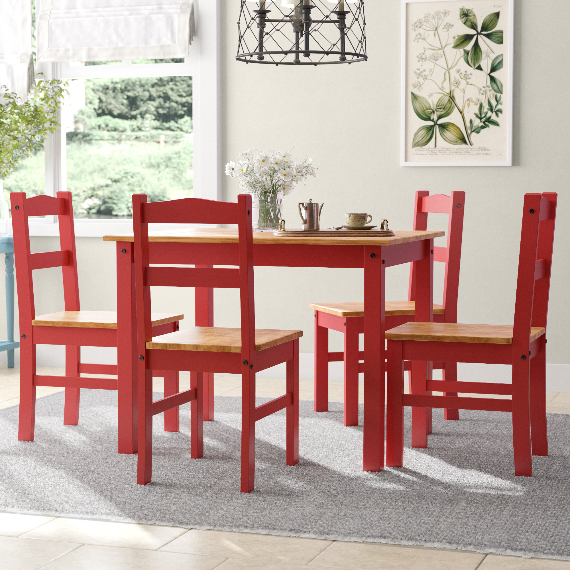 Rodgers 5 Piece Solid Wood Dining Set Throughout Recent Yedinak 5 Piece Solid Wood Dining Sets (View 7 of 20)