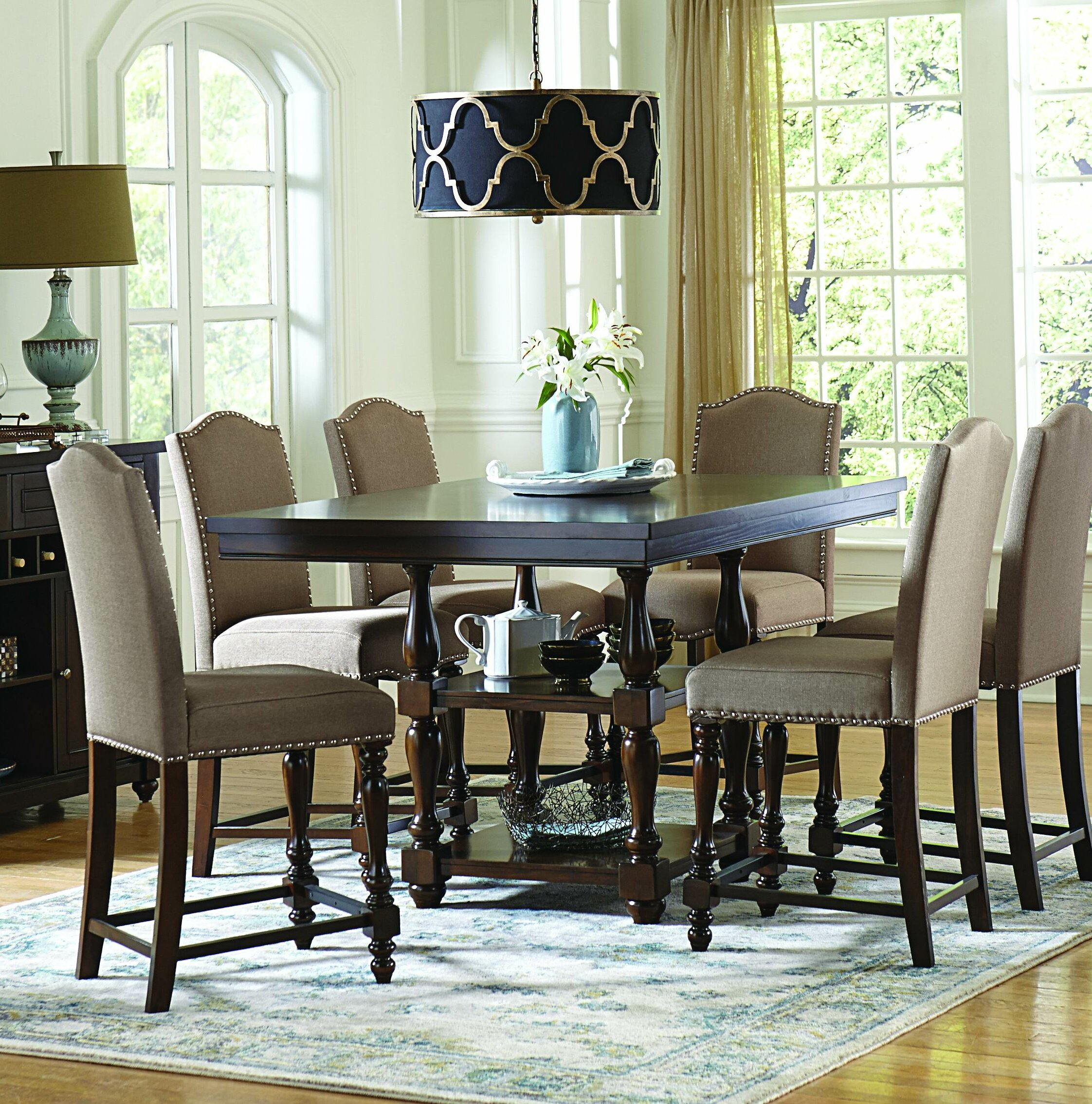 Rosalee 7 Piece Counter Height Solid Wood Dining Set Inside Newest Queener 5 Piece Dining Sets (View 10 of 20)