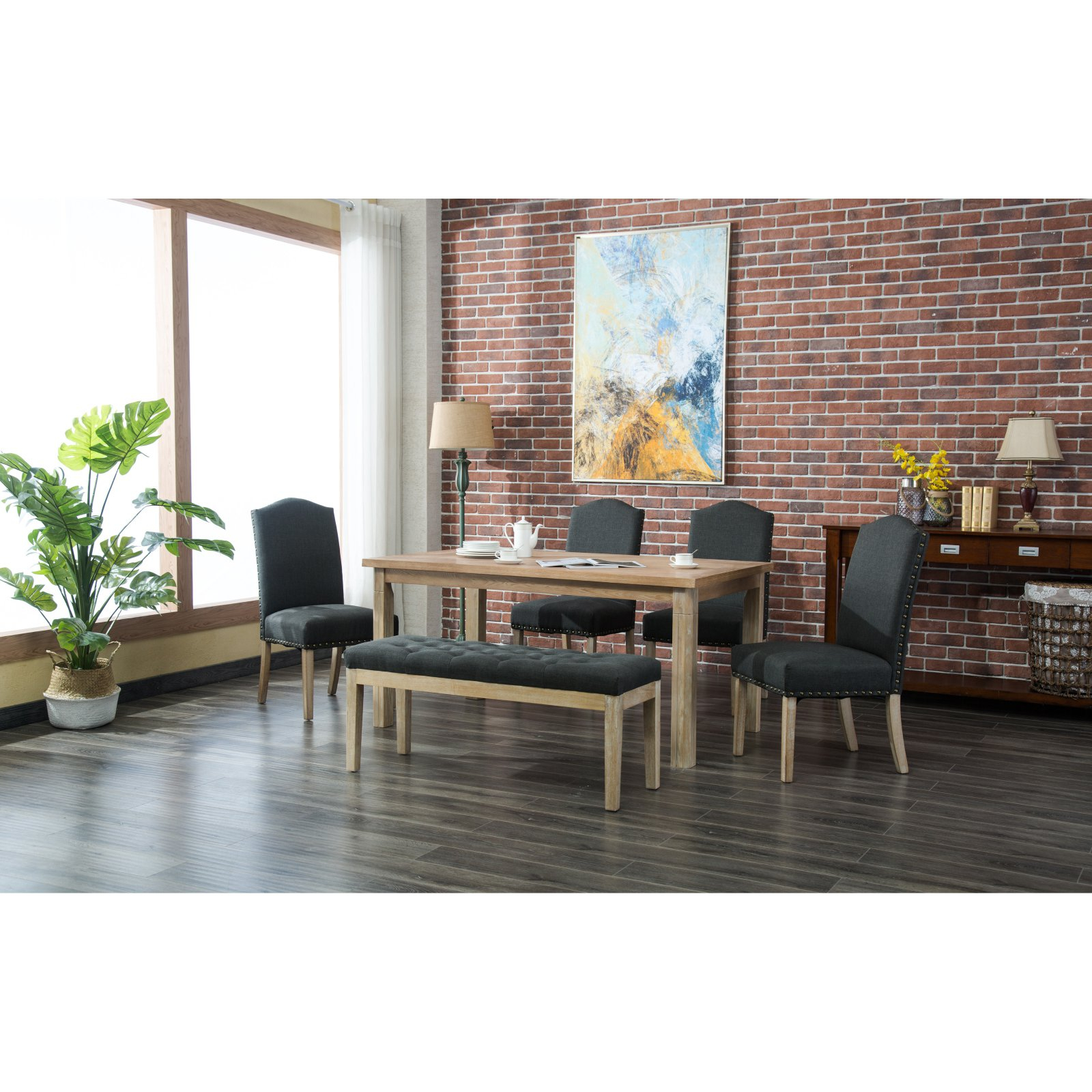 Roundhill Furniture Marseille 6 Piece Dining Table Set Charcoal Inside Most Recently Released Mukai 5 Piece Dining Sets (View 20 of 20)