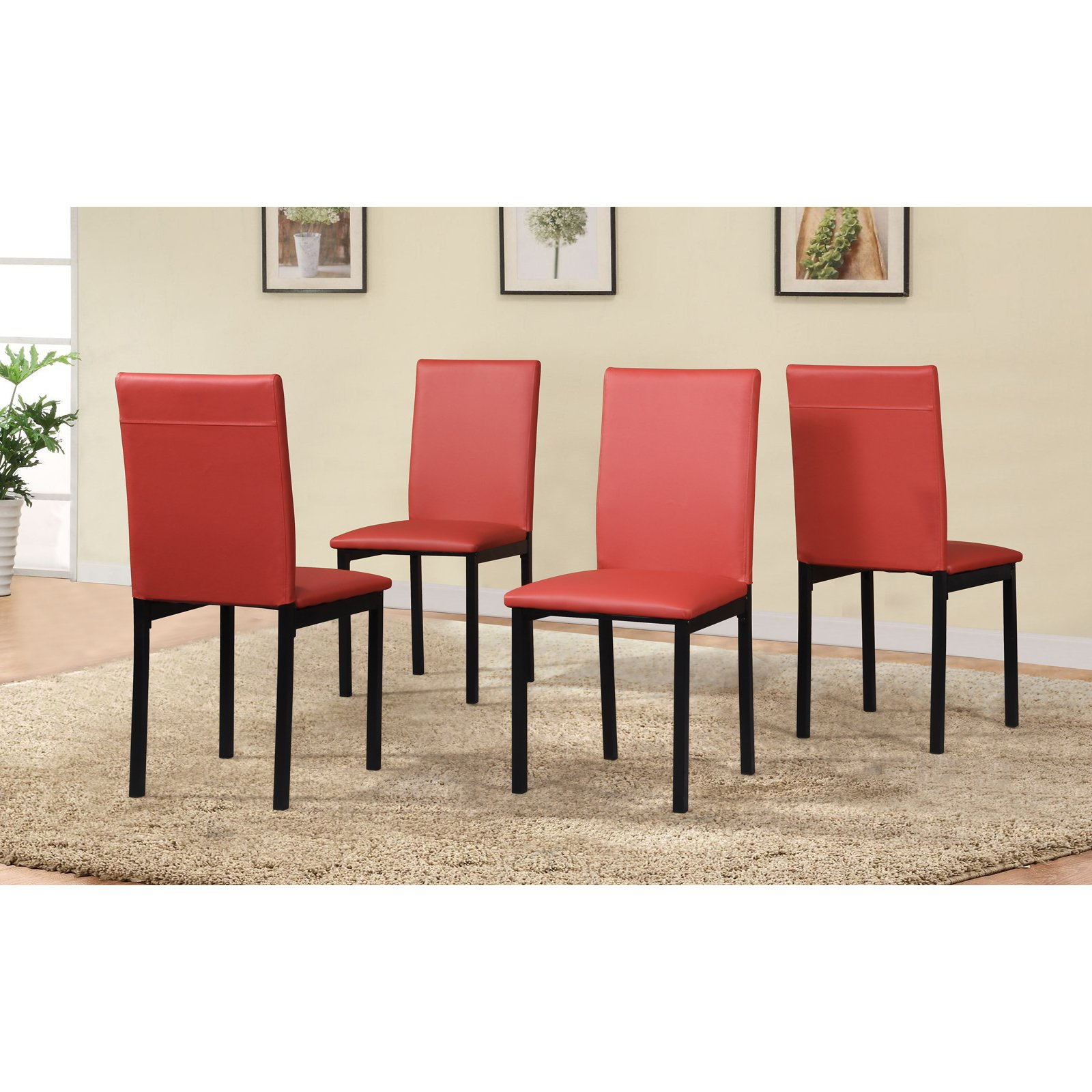 Roundhill Furniture Noyes Faux Leather Dining Side Chair – Set Of 4 With Regard To 2017 Noyes 5 Piece Dining Sets (View 11 of 20)