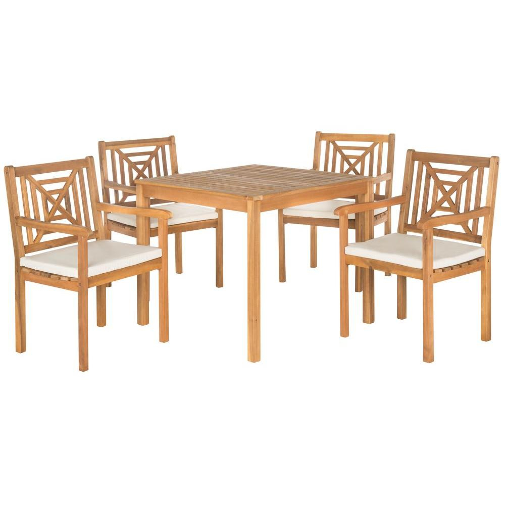 Safavieh Del Mar Teak Brown 5 Piece Patio Dining Set With Beige Cushions Pertaining To Recent Delmar 5 Piece Dining Sets (View 12 of 20)