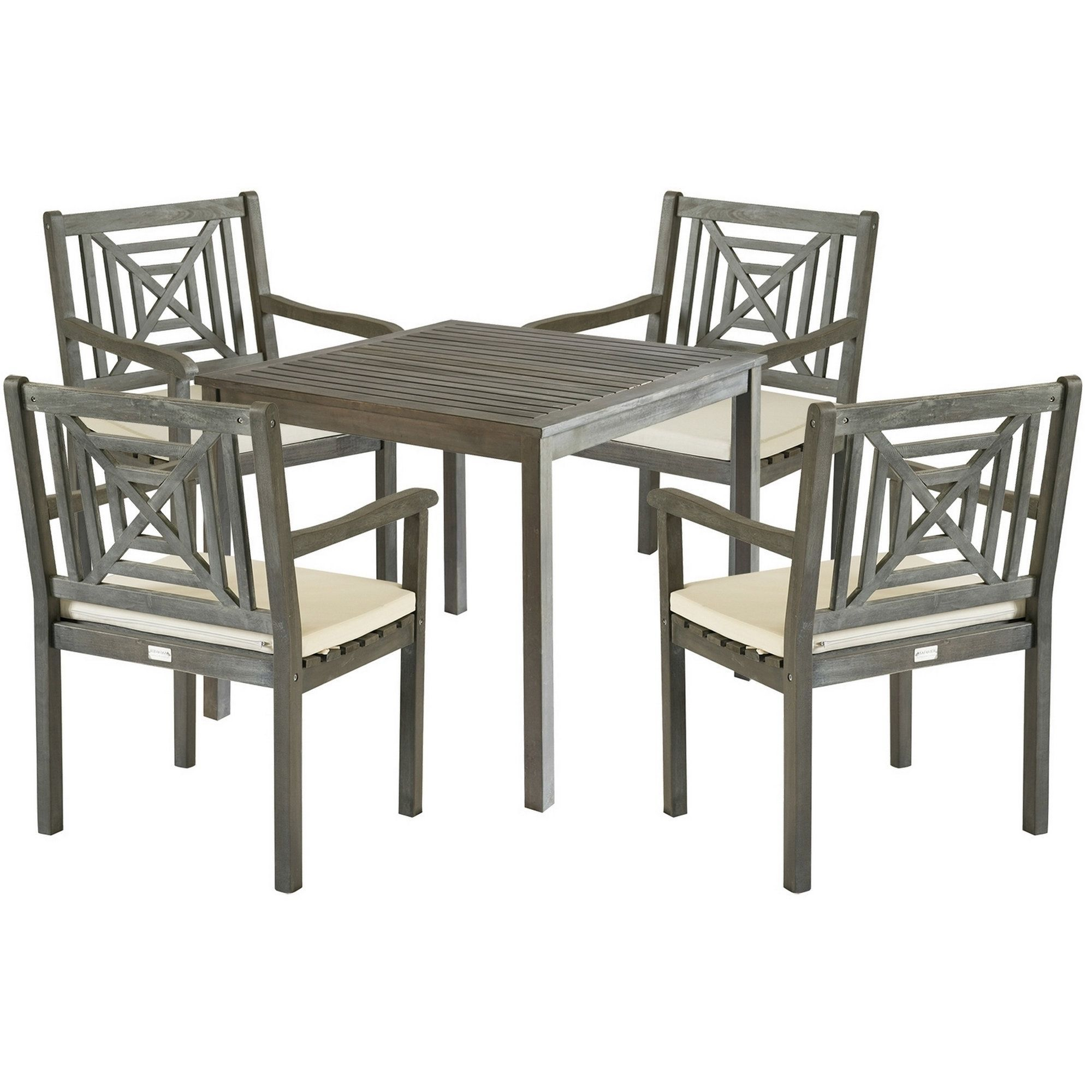 Safavieh Outdoor Living Del Mar Ash Grey Acacia Wood 5 Piece Beige Intended For Latest Delmar 5 Piece Dining Sets (View 11 of 20)