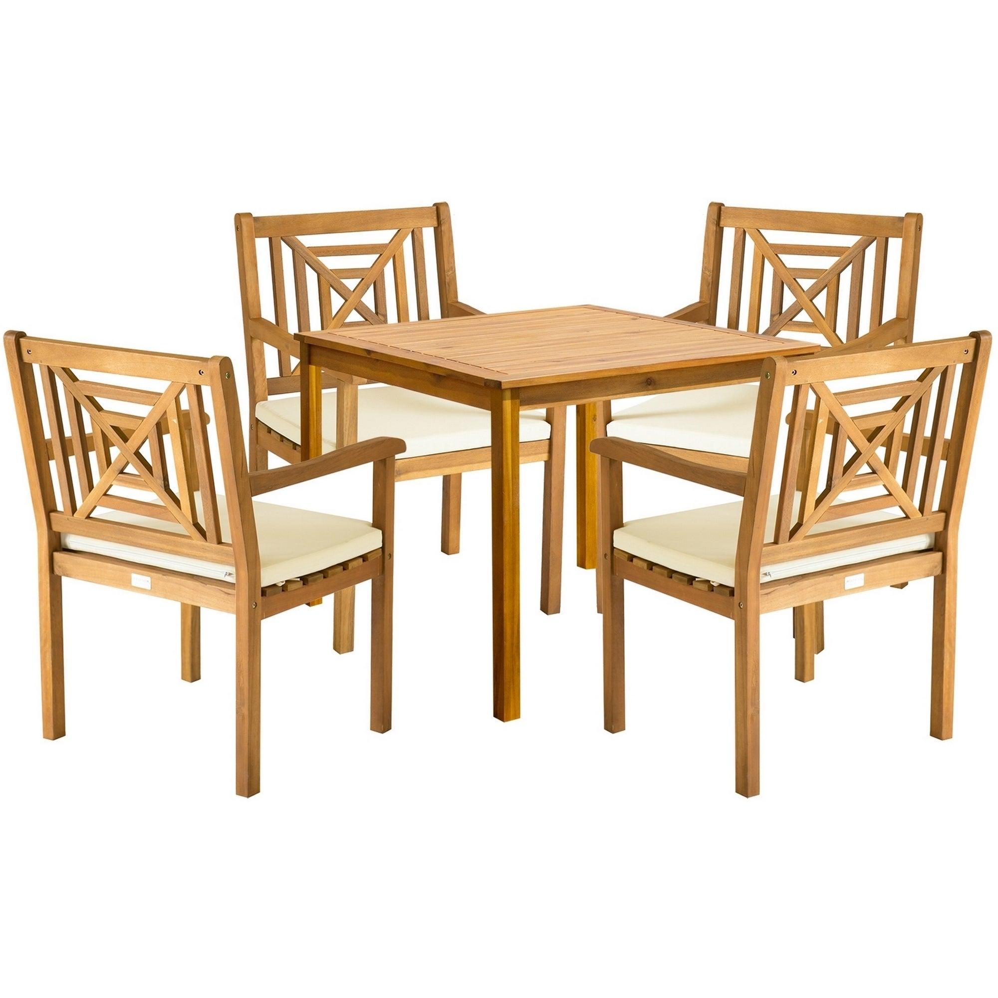 Safavieh Outdoor Living Del Mar Brown Acacia Wood 5 Piece Beige Cushion Dining Set With Recent Delmar 5 Piece Dining Sets (View 19 of 20)