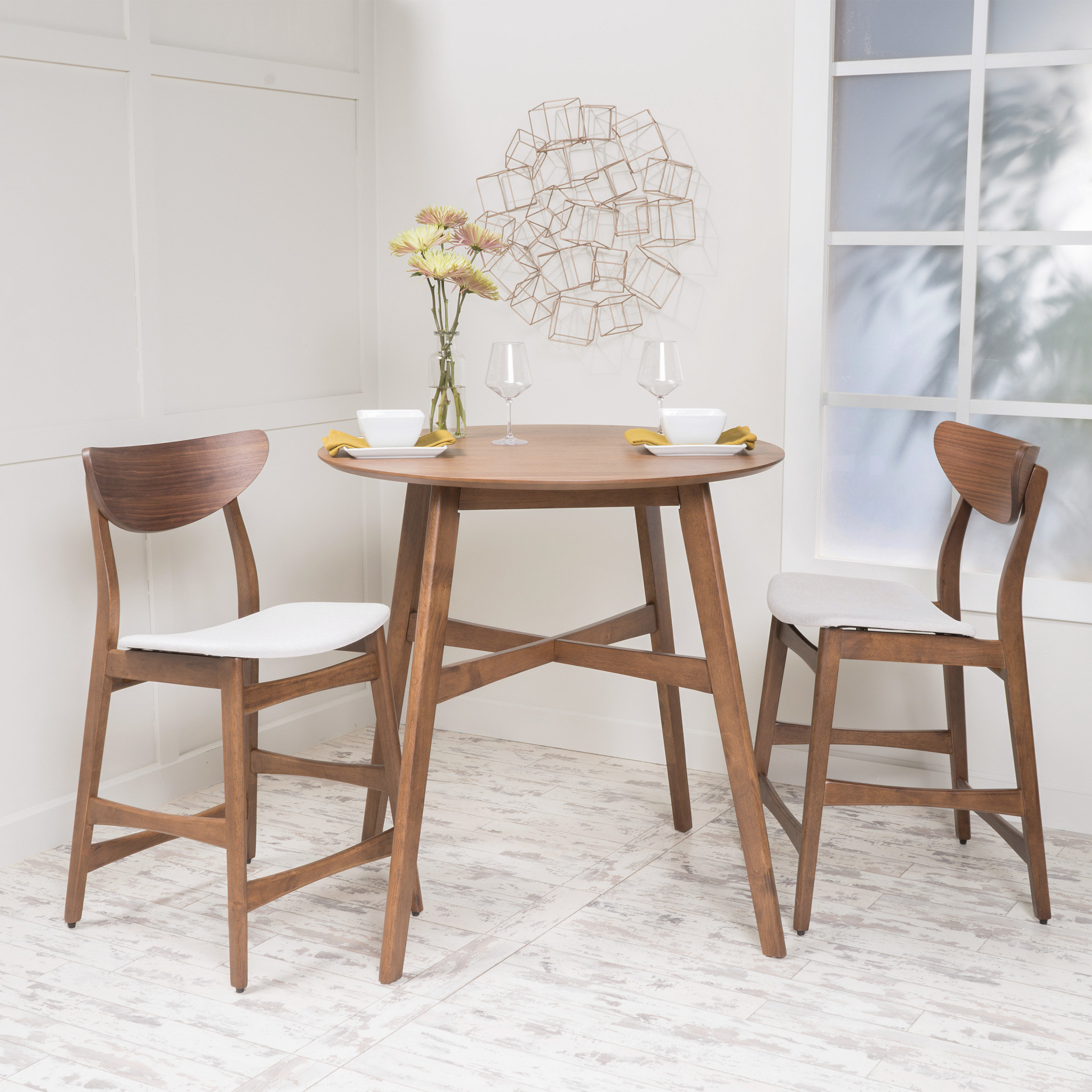 Santa Cruz 3 Piece Counter Height Dining Set Pertaining To Current Moorehead 3 Piece Counter Height Dining Sets (View 2 of 20)