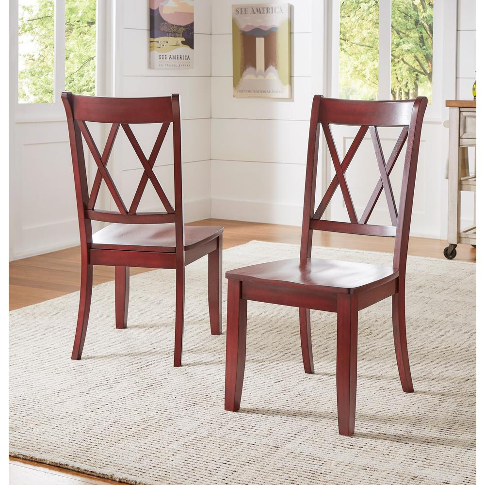 Sawyer Rich Berry Wood X Back Dining Chair (Set Fo 2) Intended For Newest Amir 5 Piece Solid Wood Dining Sets (Set Of 5) (View 17 of 20)
