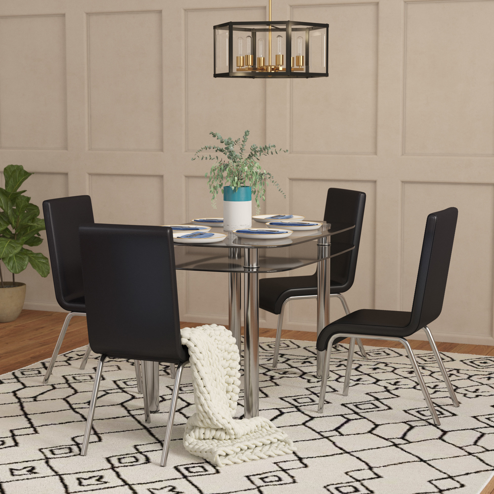Scalise 5 Piece Dining Set Throughout Newest Turnalar 5 Piece Dining Sets (View 7 of 20)