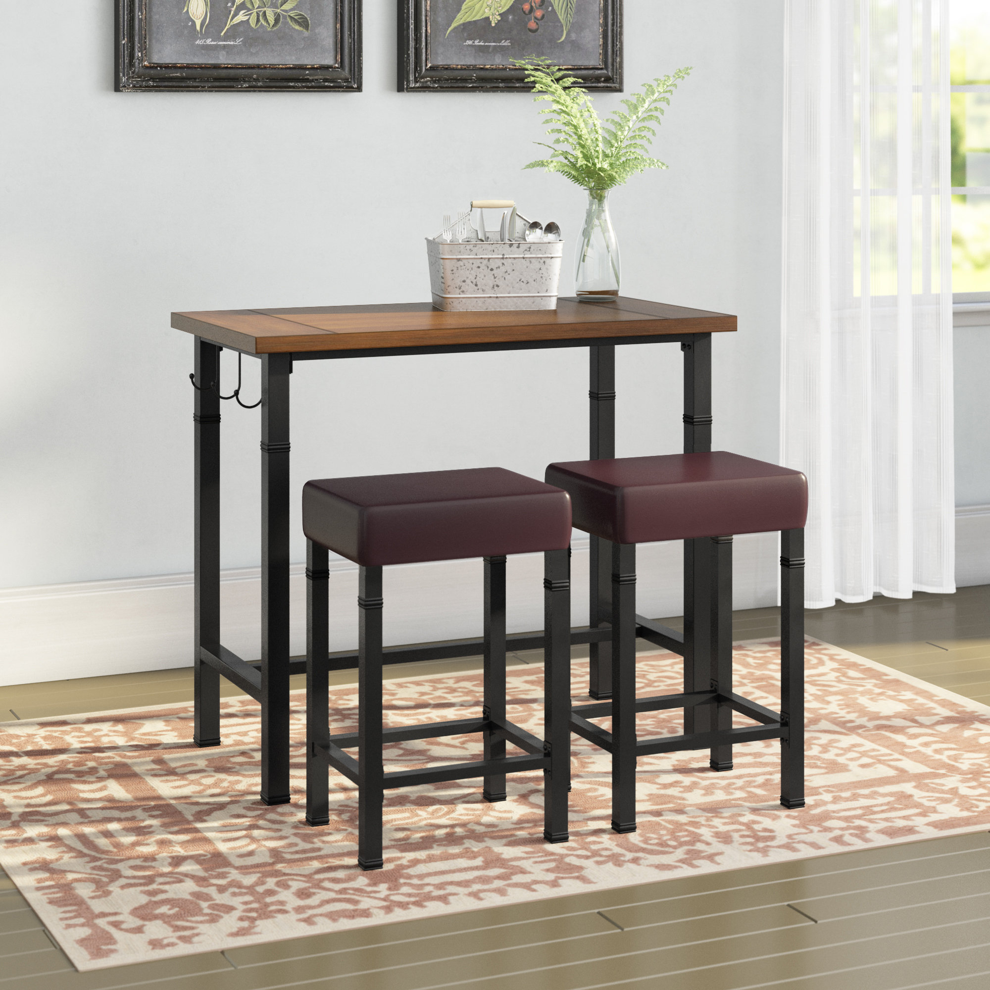 Sevigny 3 Piece Pub Table Set For 2017 Springfield 3 Piece Dining Sets (View 16 of 20)