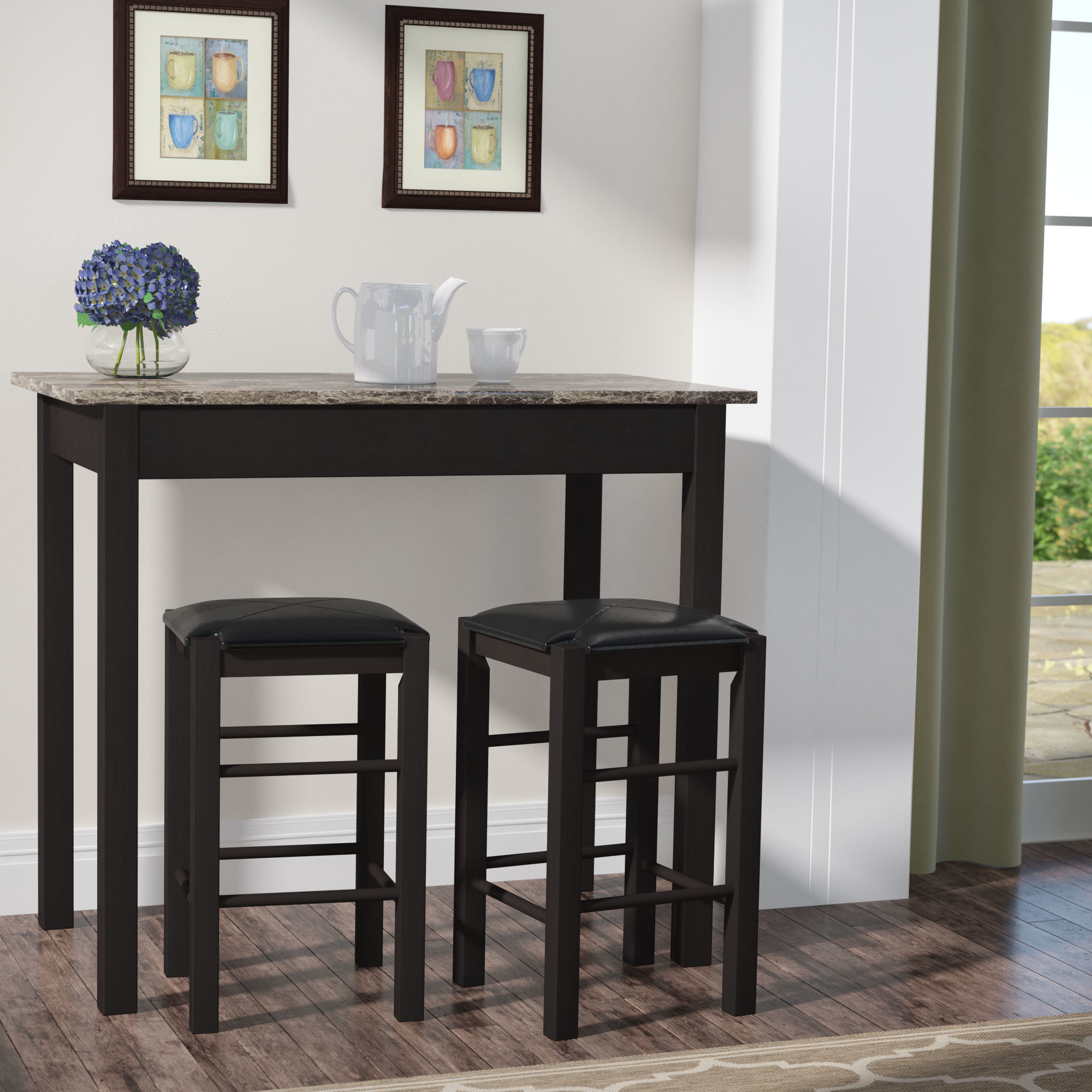 Sheetz 3 Piece Counter Height Dining Set With Most Popular Miskell 3 Piece Dining Sets (Image 18 of 20)