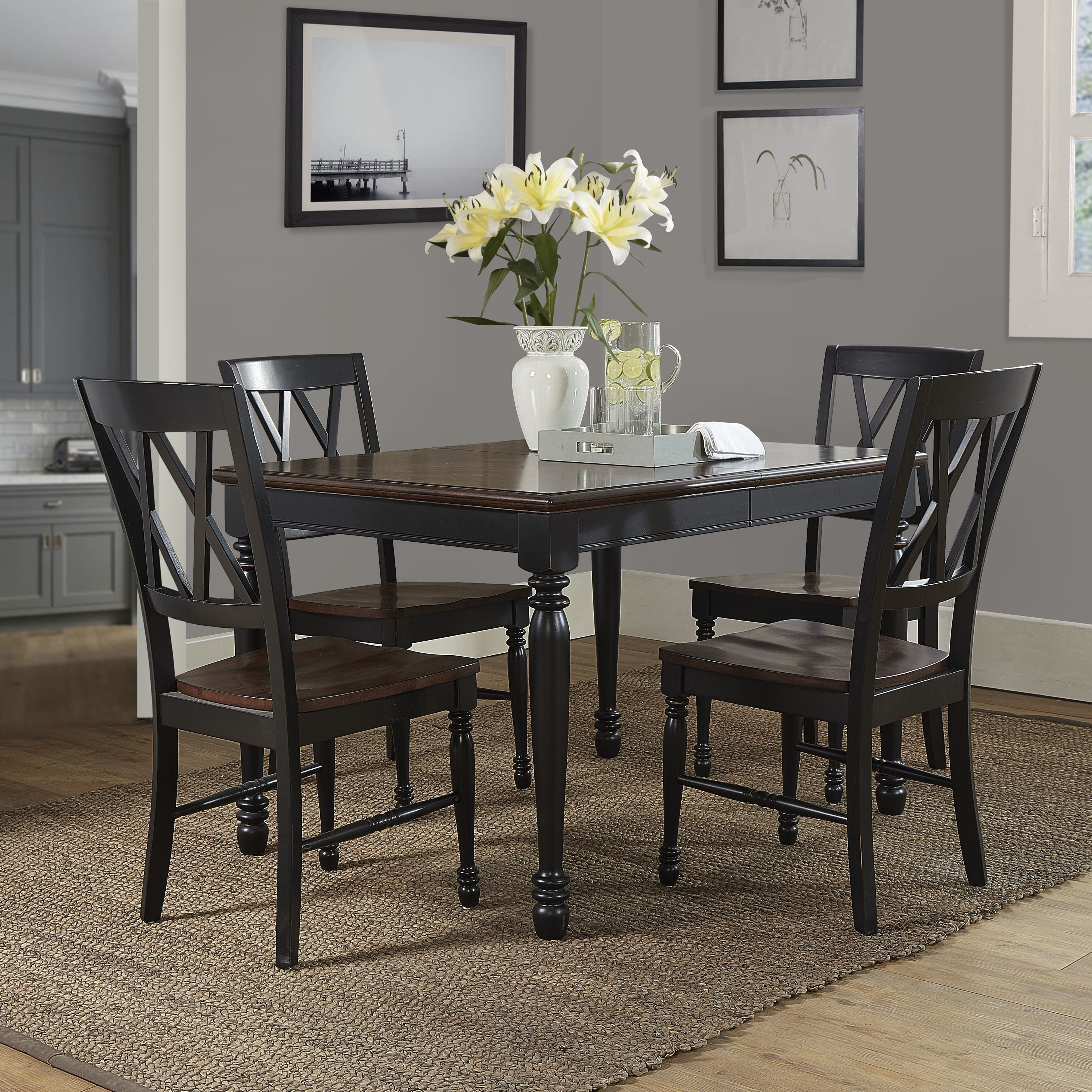 Shelby Black Wood 5 Piece Dining Set In Most Recent Laconia 7 Pieces Solid Wood Dining Sets (Set Of 7) (View 19 of 20)