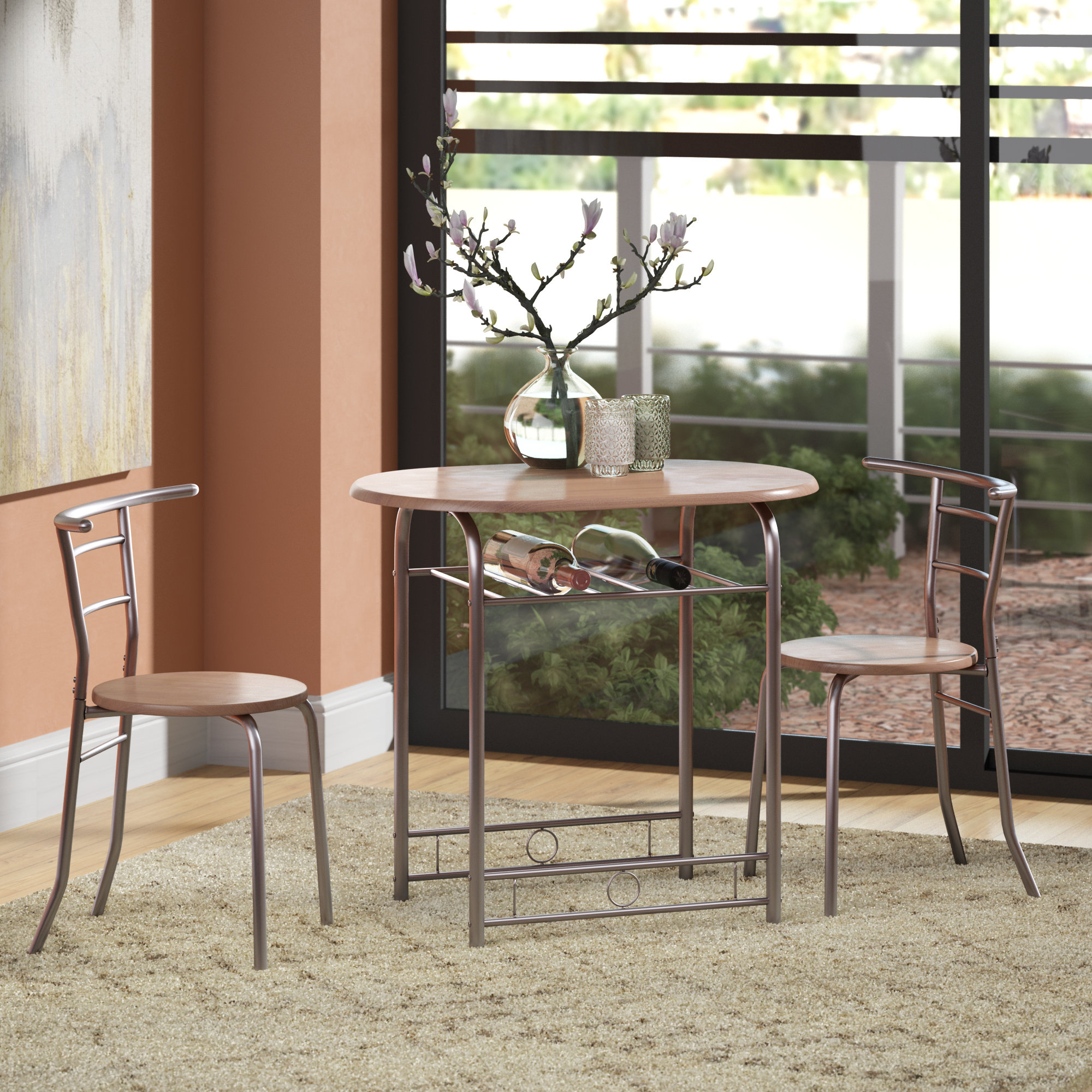 Shingadia Bistro 3 Piece Breakfast Nook Dining Set Within Recent Smyrna 3 Piece Dining Sets (View 19 of 20)