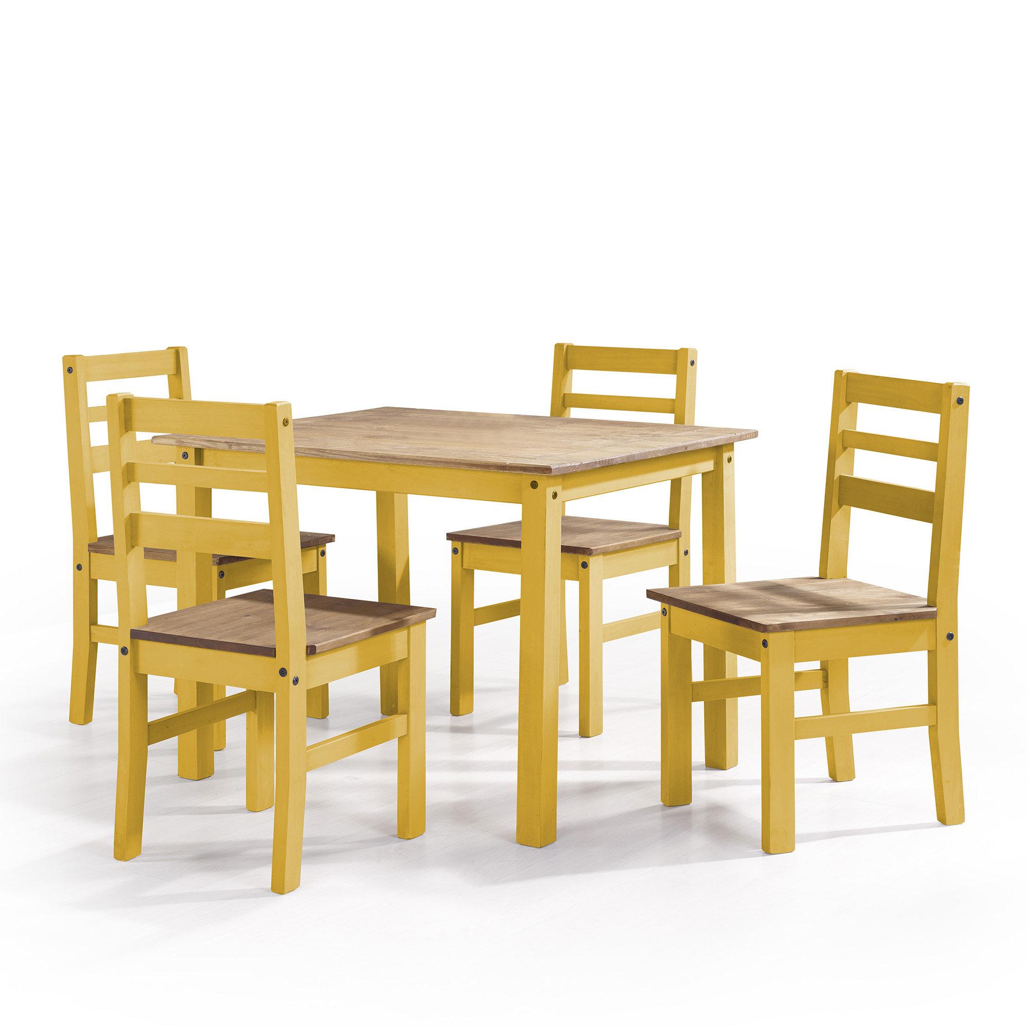 Shrewsbury 5 Piece Solid Wood Dining Set Regarding Recent Yedinak 5 Piece Solid Wood Dining Sets (View 2 of 20)