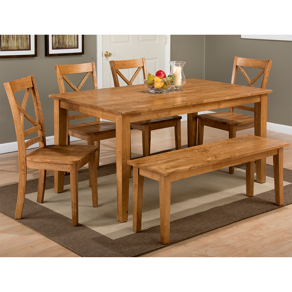 Simplicity Honey 6 Piece Dining Set – Table, 4 X Chairs & Bench Within Recent Evellen 5 Piece Solid Wood Dining Sets (Set Of 5) (View 6 of 20)