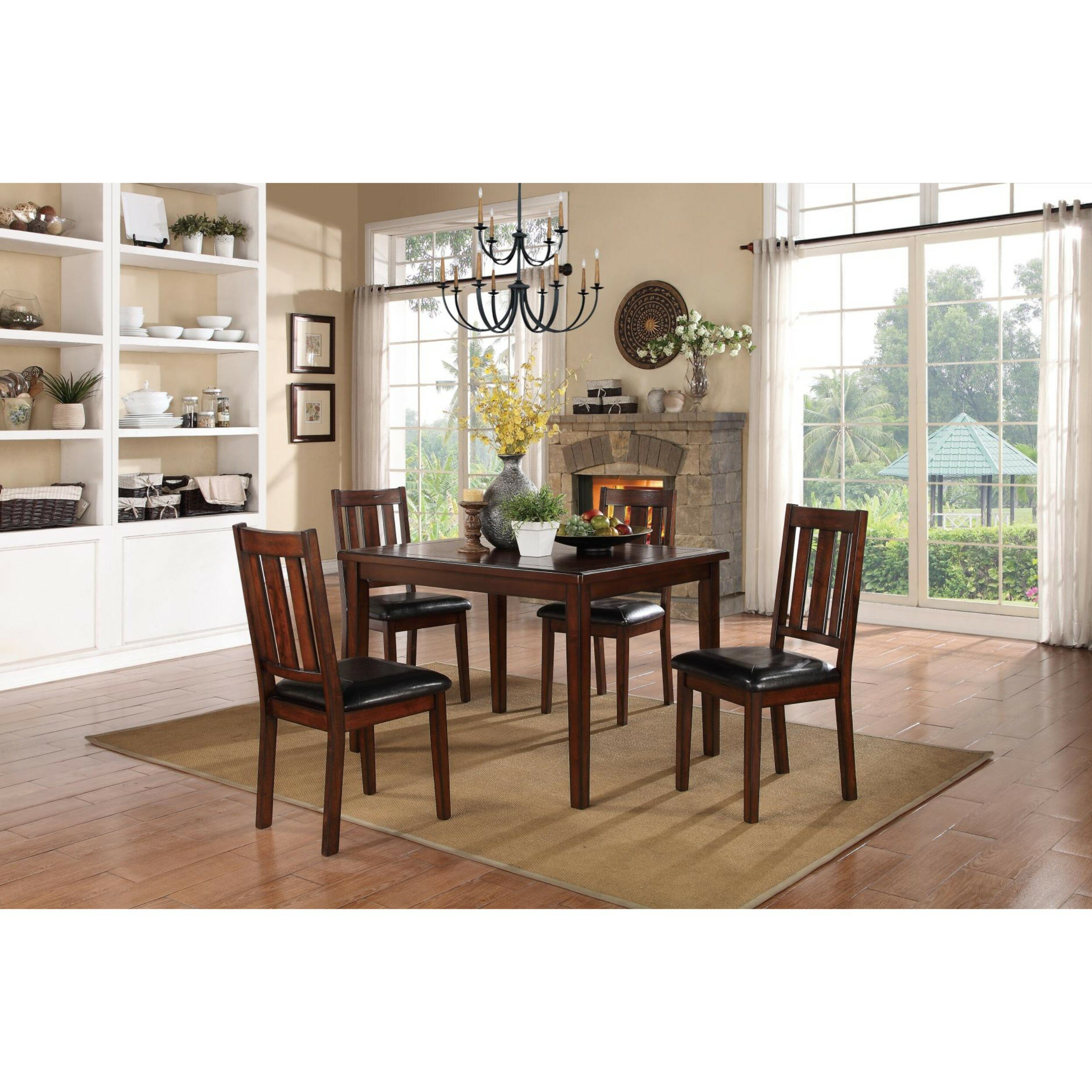 Soderquist Dinette 5 Piece Solid Wood Dining Set Regarding Best And Newest Goodman 5 Piece Solid Wood Dining Sets (Set Of 5) (Image 18 of 20)