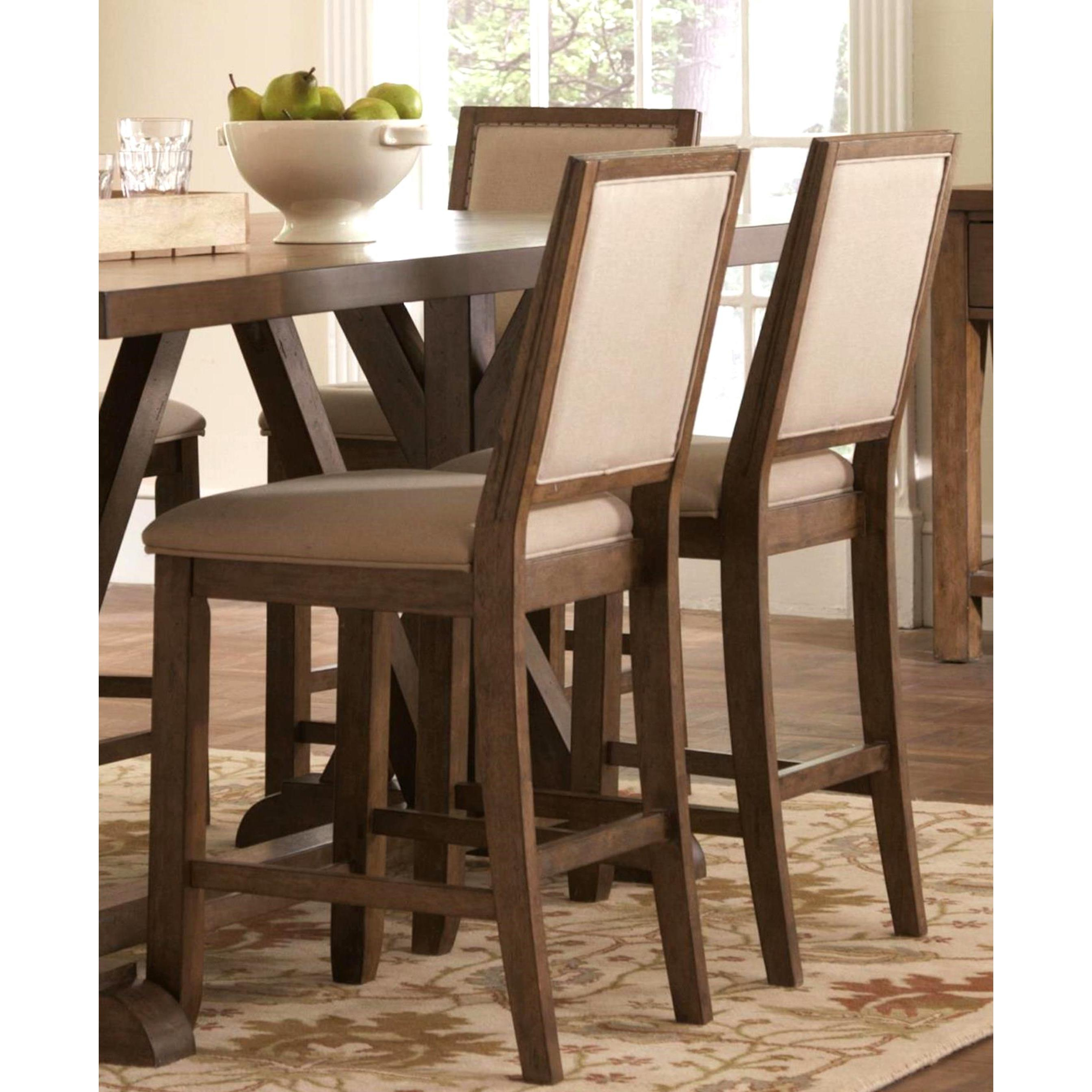 Sontuoso Rustic Trestle Base European Design Counter Height 7 Piece Dining  Set In Latest Wallflower 3 Piece Dining Sets (Image 15 of 20)