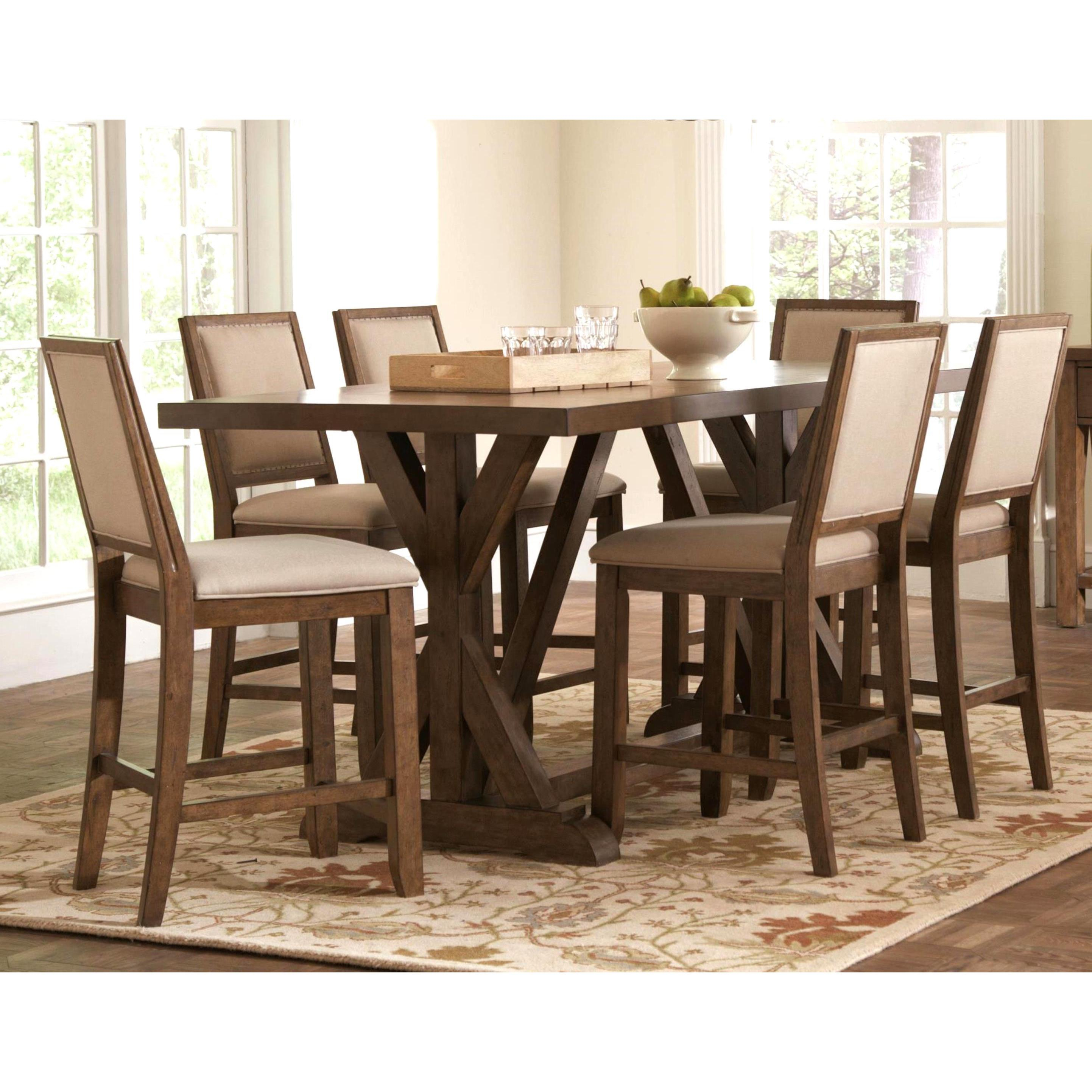 Sontuoso Rustic Trestle Base European Design Counter Height 7 Piece Dining  Set With 2018 Wallflower 3 Piece Dining Sets (Image 16 of 20)