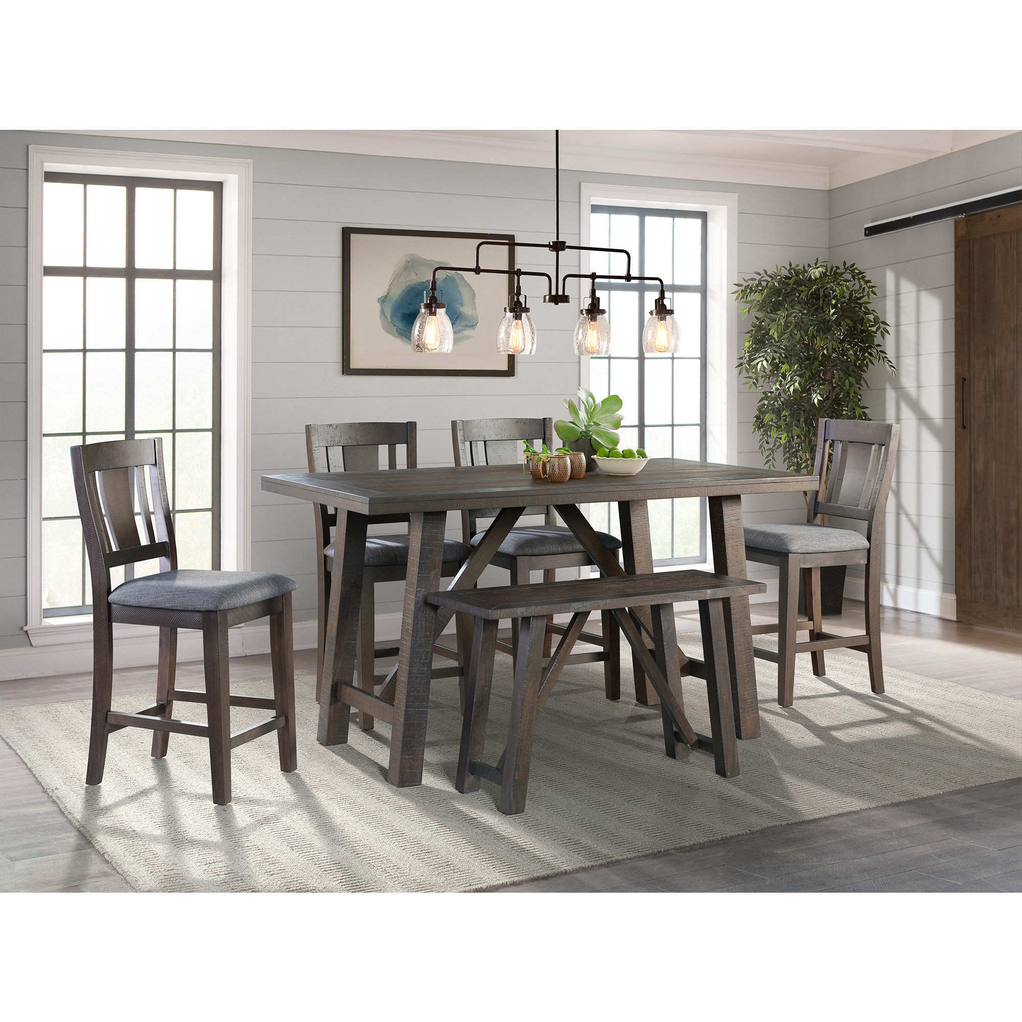 Sorrentino 6 Piece Pub Table Set Regarding Recent Hanska Wooden 5 Piece Counter Height Dining Table Sets (Set Of 5) (Image 18 of 20)