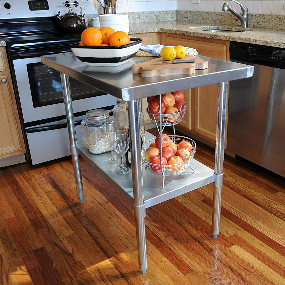 Sportsman Stainless Steel Kitchen Utility Table Sswtable72 – The Throughout Most Recent Presson 3 Piece Counter Height Dining Sets (Image 14 of 20)