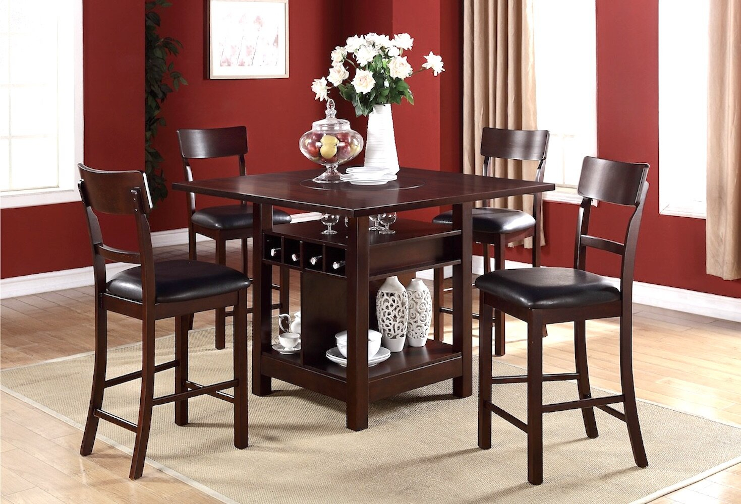 Stevenson 5 Piece Pub Table Set In Best And Newest Biggs 5 Piece Counter Height Solid Wood Dining Sets (Set Of 5) (View 6 of 20)