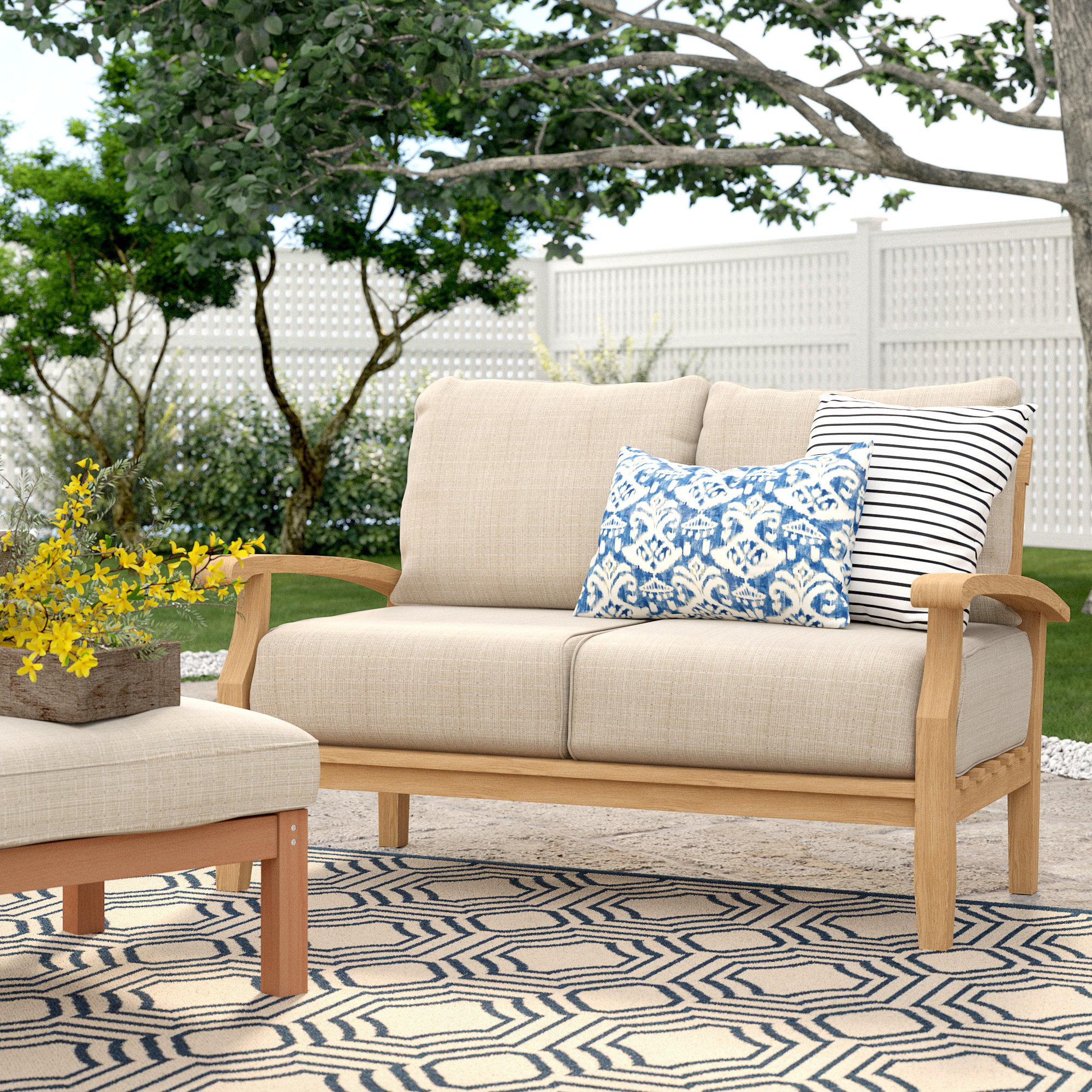 Summerton Teak Loveseat With Cushions With Regard To Most Recently Released Rossi 5 Piece Dining Sets (Image 19 of 20)