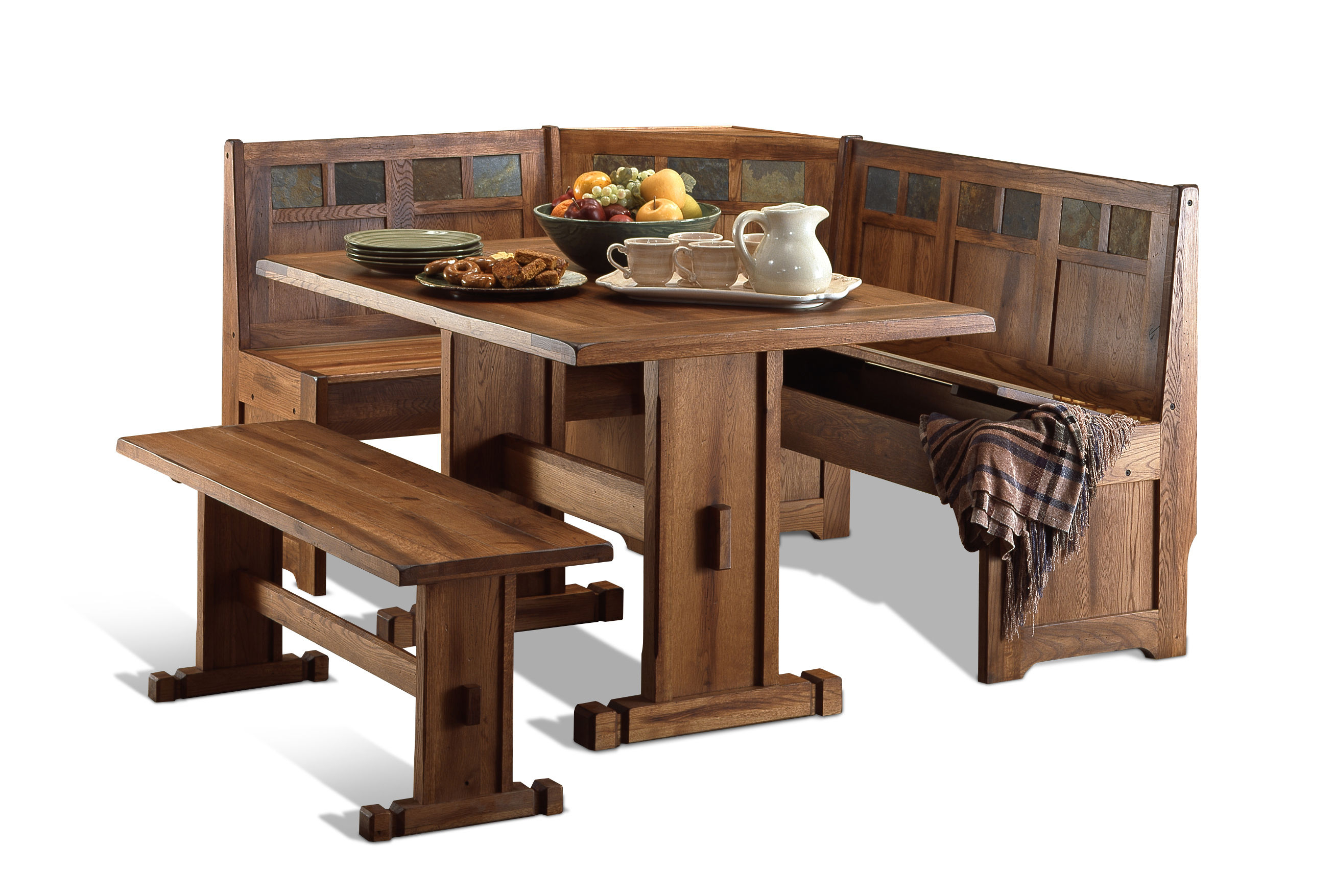 Sunny Designs Sedona Light Brown Breakfast Nook Set With Regard To Most Recent Ligon 3 Piece Breakfast Nook Dining Sets (Image 16 of 20)