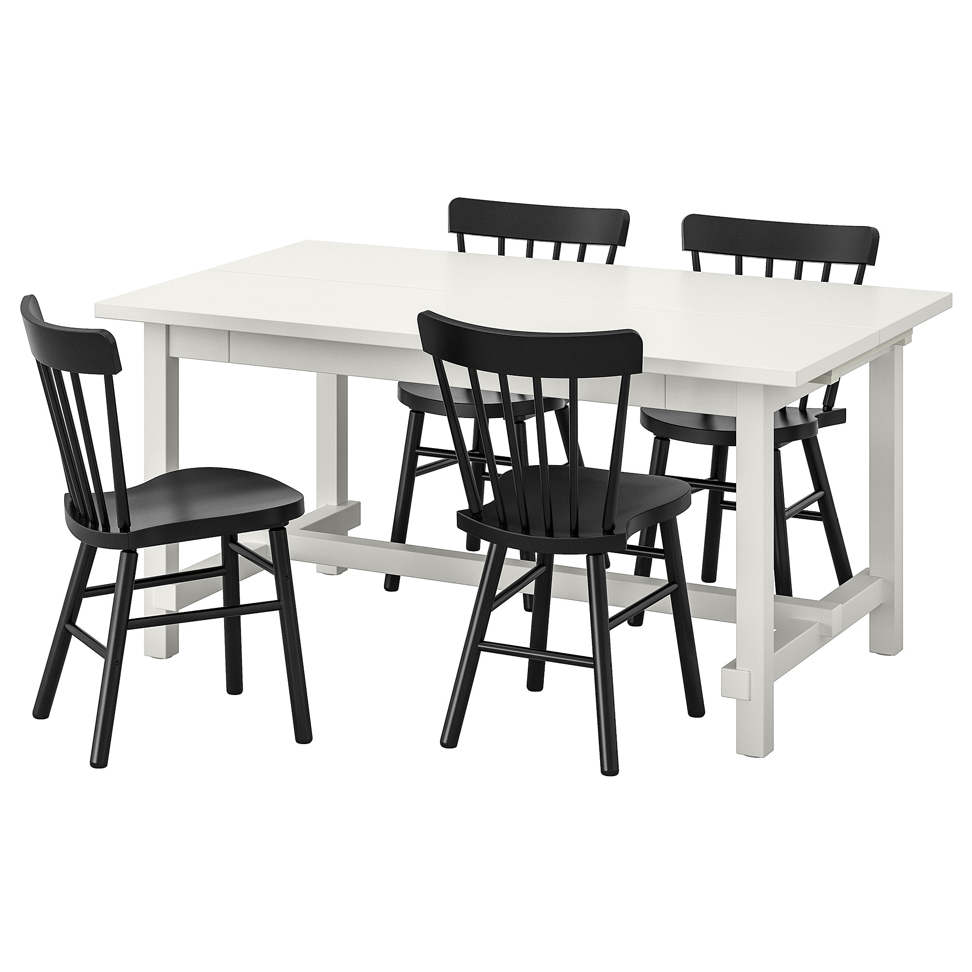Table And 4 Chairs Nordviken / Norraryd White, Black In Most Current Castellanos Modern 5 Piece Counter Height Dining Sets (Image 15 of 20)