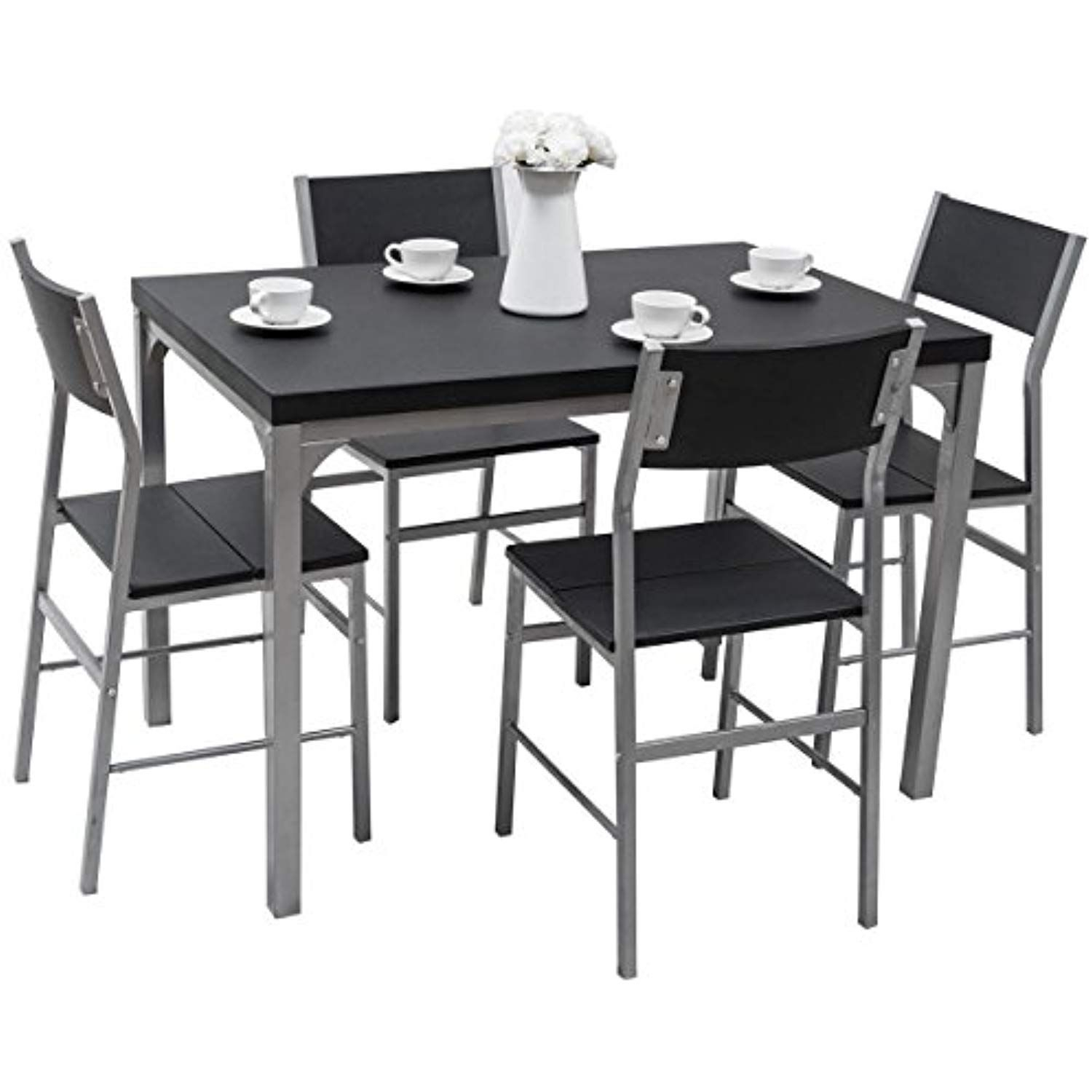 Tangkula Dining Table Set 5 Piece Home Kitchen Dining Room Tempered With Regard To Current Ephraim 5 Piece Dining Sets (View 2 of 20)