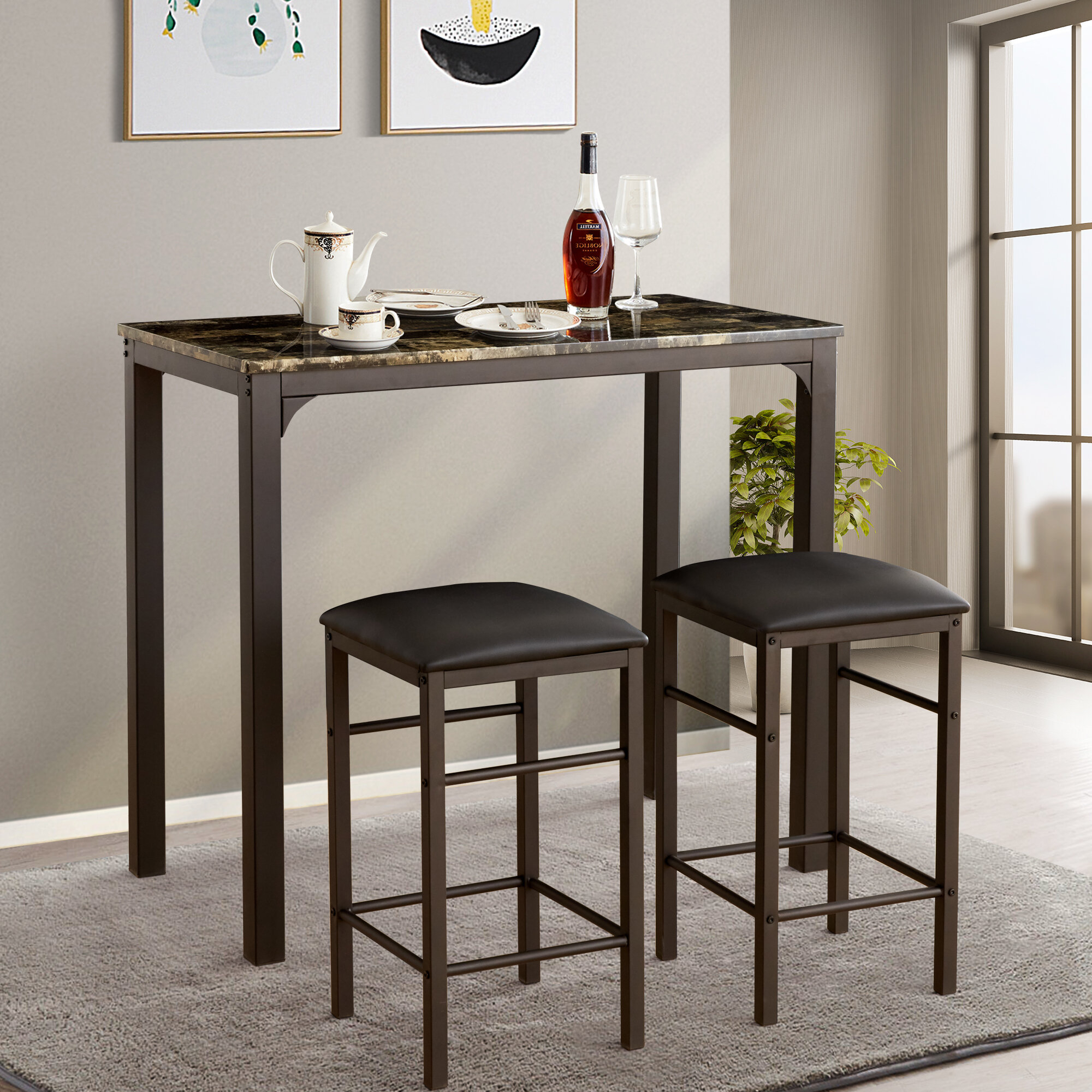 Tappahannock 3 Piece Counter Height Dining Set Regarding Most Up To Date Mizpah 3 Piece Counter Height Dining Sets (Image 19 of 20)