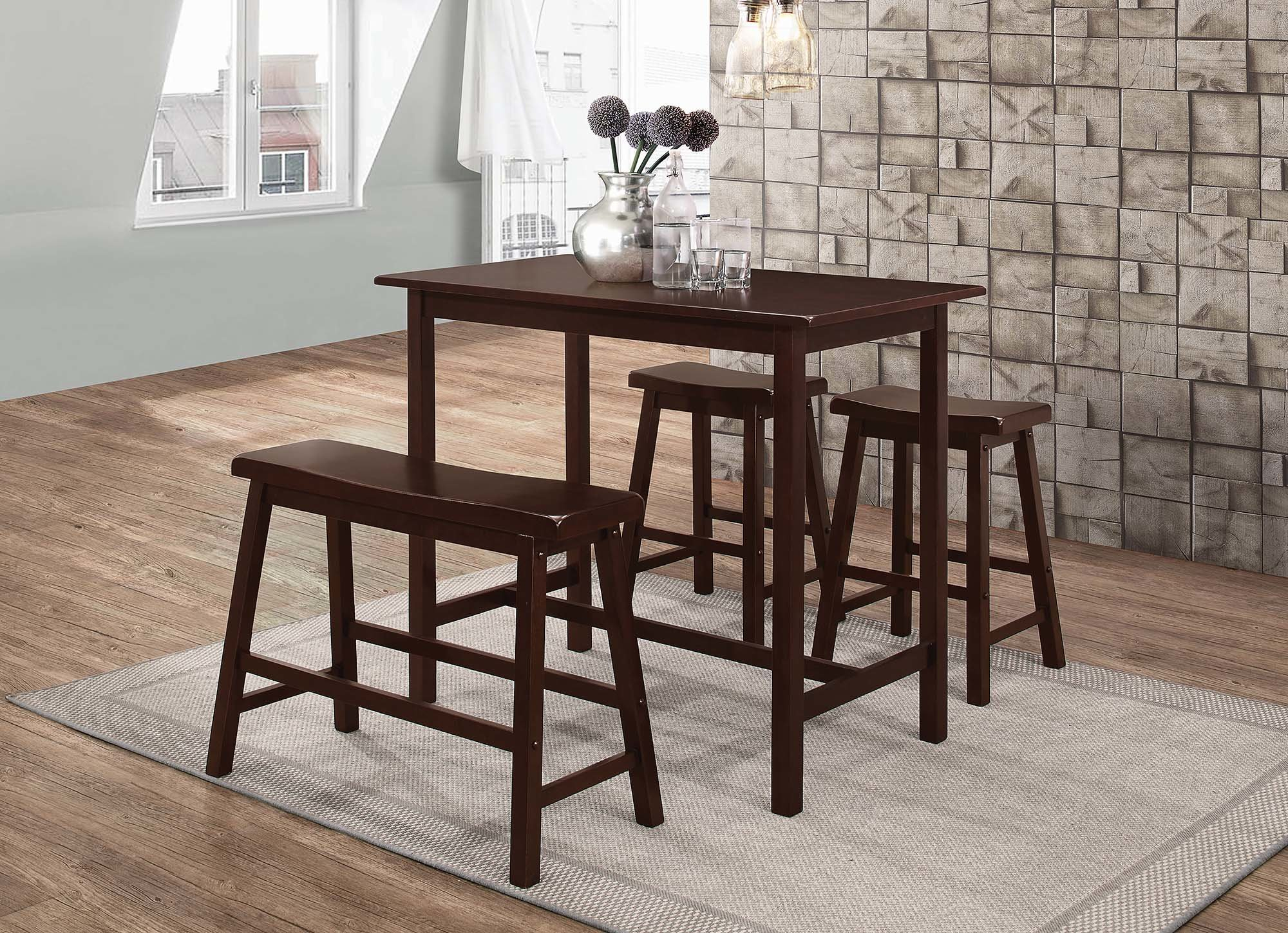 Tassone 4 Piece Dining Set For Most Current Kernville 3 Piece Counter Height Dining Sets (Image 16 of 20)