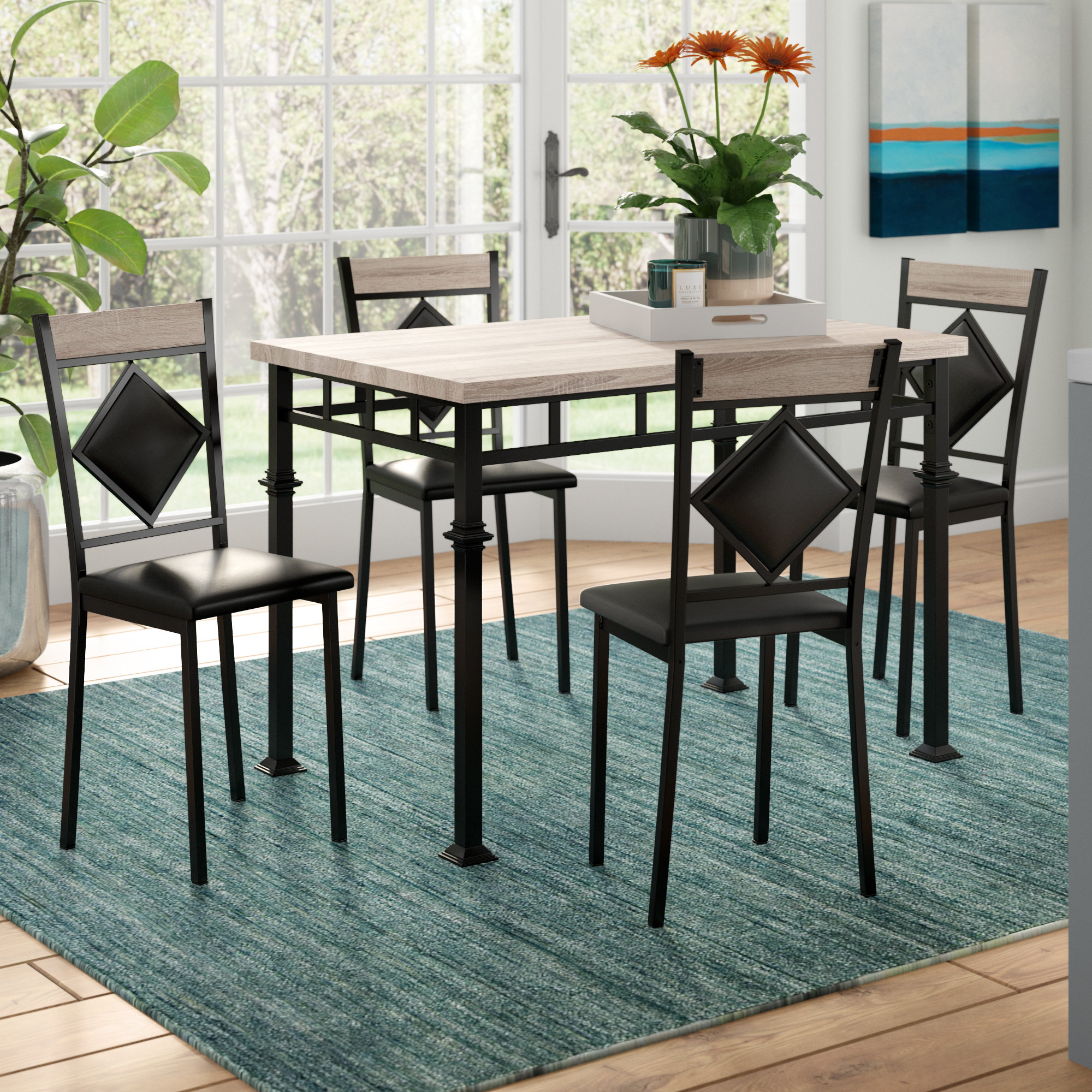 Tavarozzi 5 Piece Dining Set With Current Autberry 5 Piece Dining Sets (Image 20 of 20)