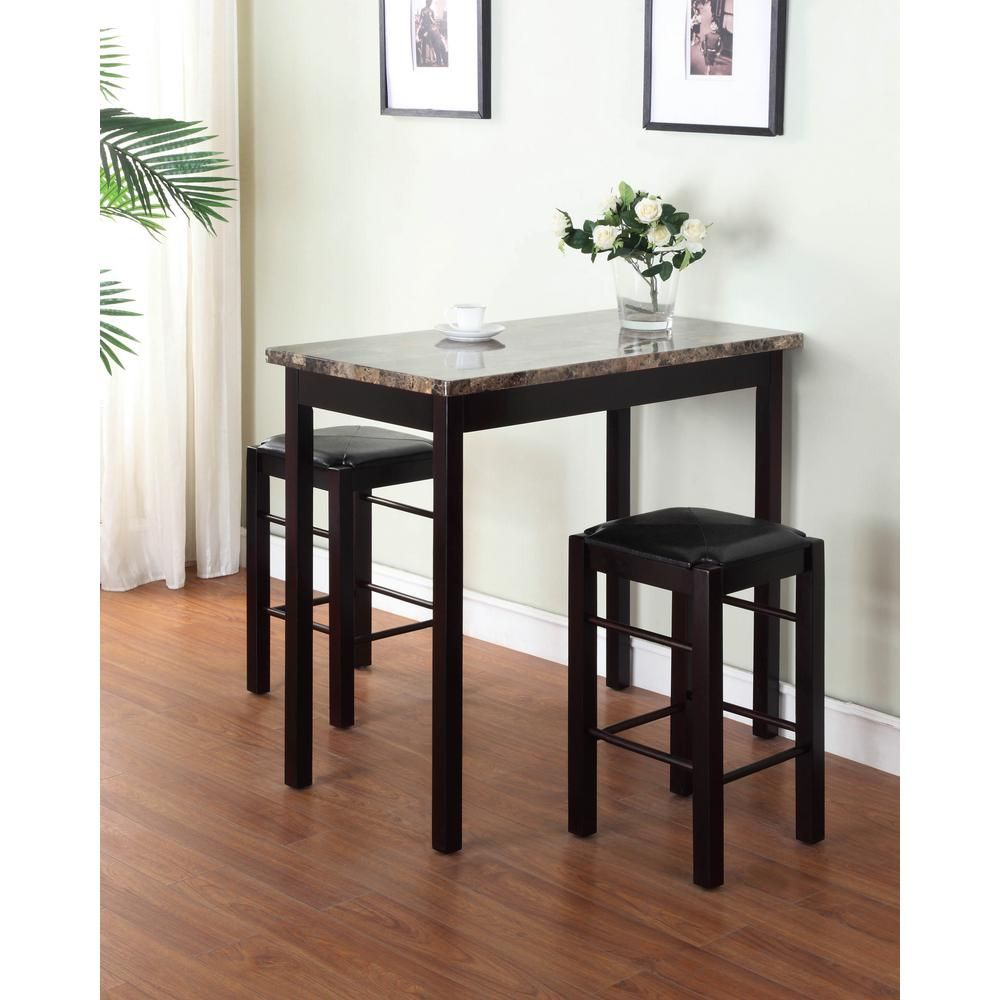 Tavern 3 Piece Espresso Bar Table Set In 2019 | Decor | Our Home Regarding Most Recent Sheetz 3 Piece Counter Height Dining Sets (View 13 of 20)
