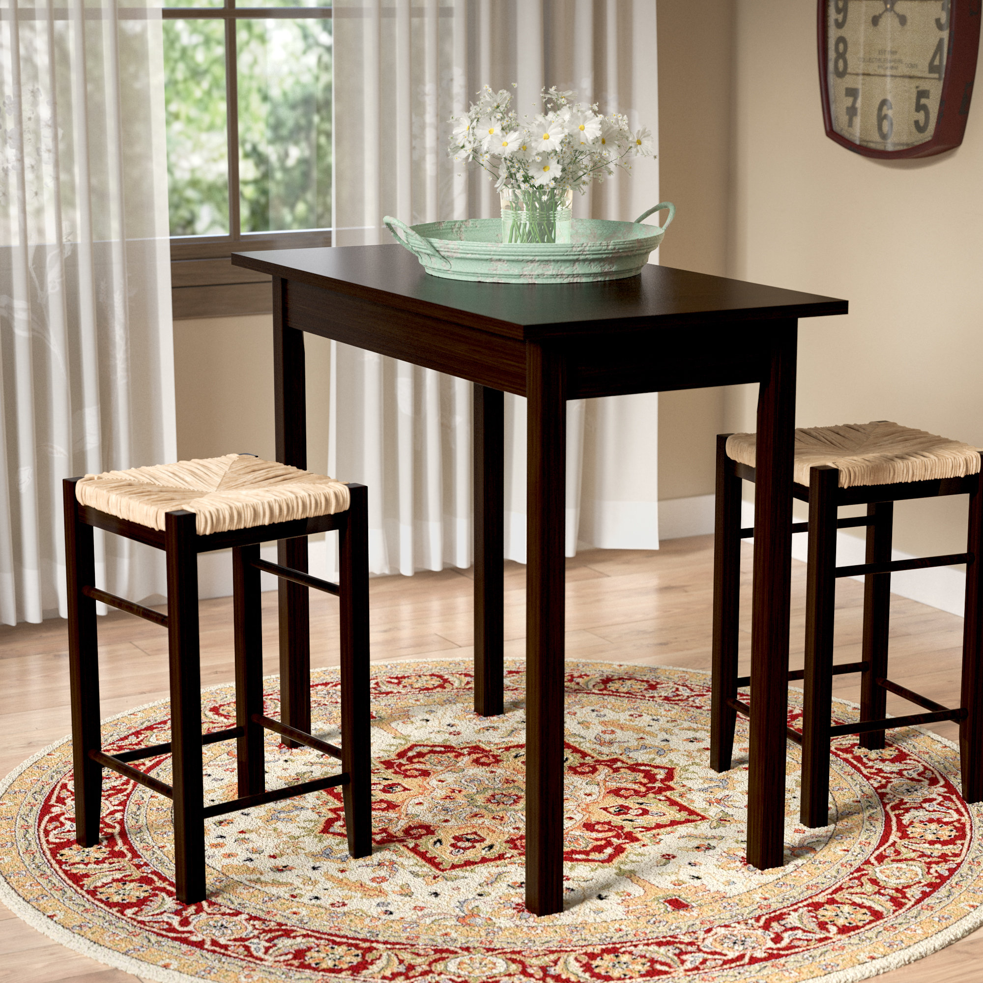 Tenney 3 Piece Counter Height Dining Set With Newest Poynter 3 Piece Drop Leaf Dining Sets (View 9 of 20)