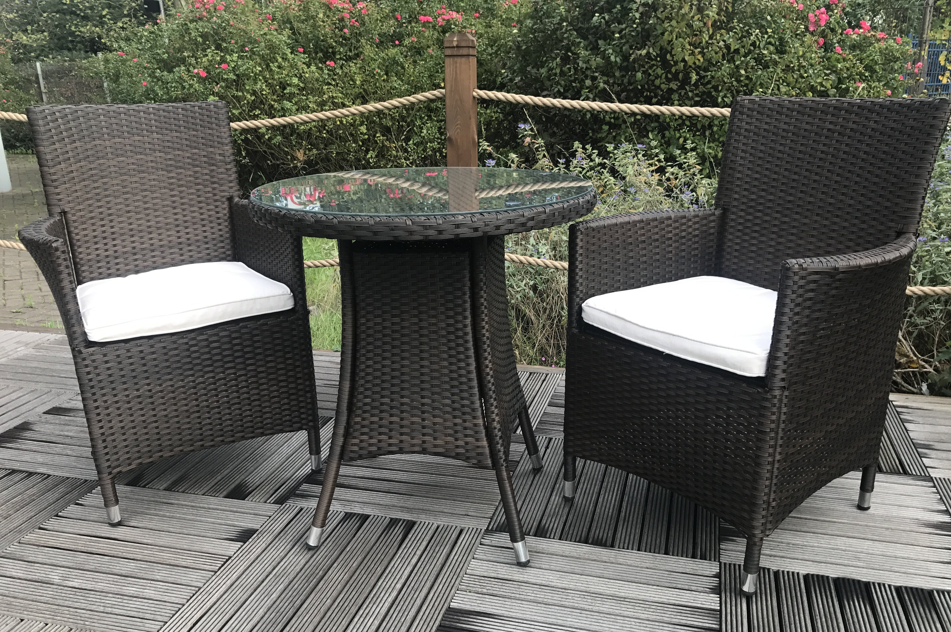 Termonde 2 Seater Bistro Set With Cushions With Regard To Most Popular Kinsler 3 Piece Bistro Sets (View 12 of 20)