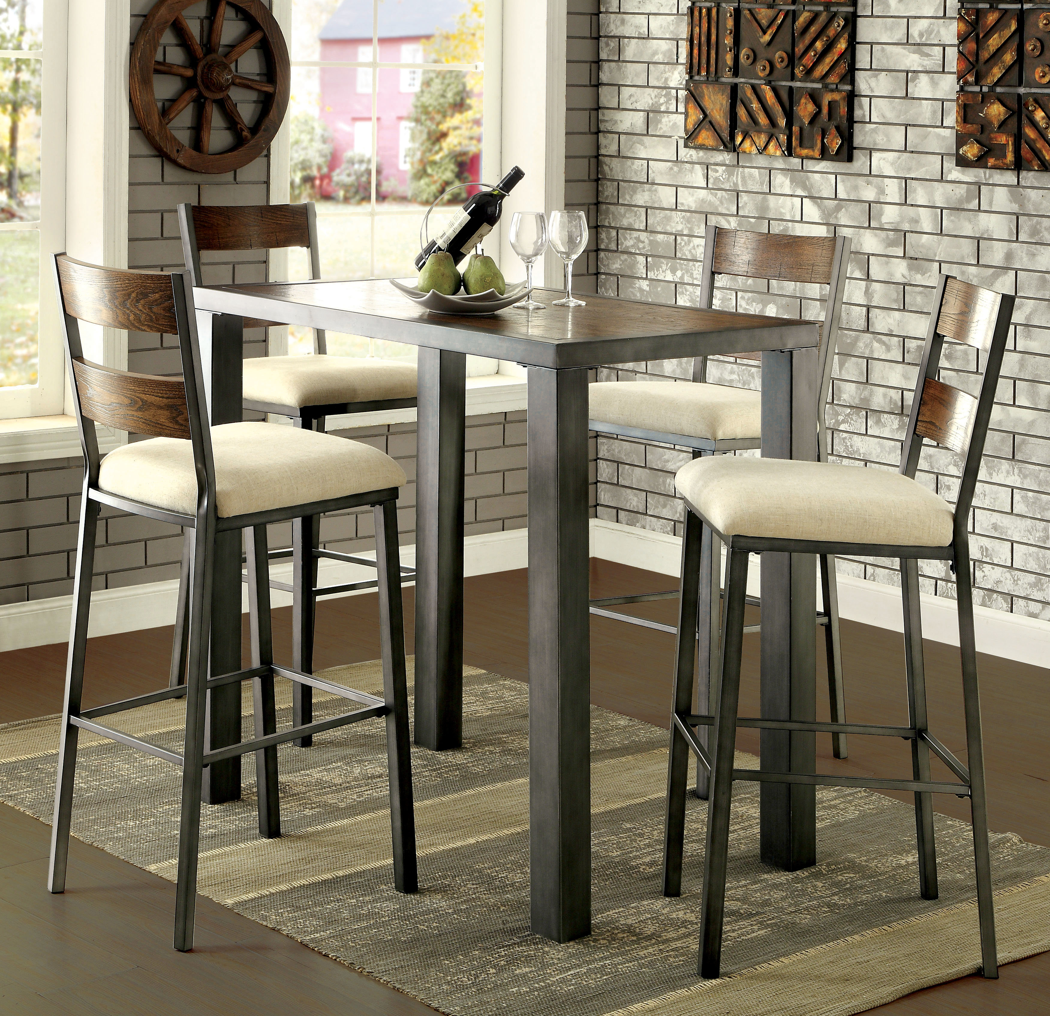 Thurman 5 Piece Pub Table Set In Most Current Bettencourt 3 Piece Counter Height Solid Wood Dining Sets (View 20 of 20)