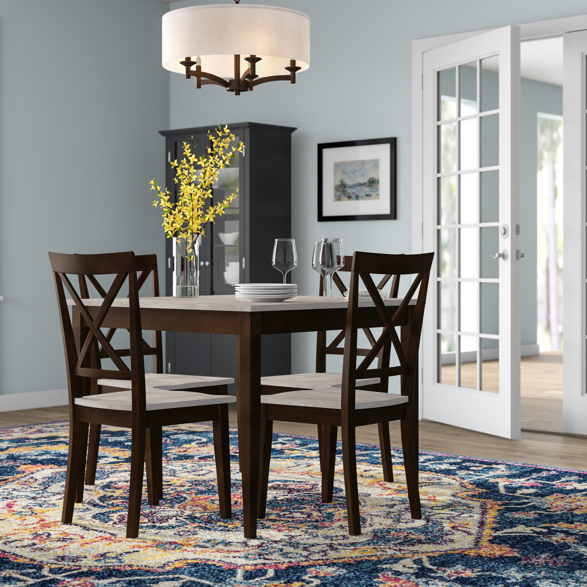Tilley Rustic 5 Piece Dining Set In Most Current Kieffer 5 Piece Dining Sets (View 14 of 20)