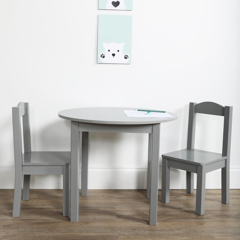 Tot Tutors Inspire 3 Piece Grey Kids Round Table And Chair Set Tc763 Throughout Most Recent Springfield 3 Piece Dining Sets (View 15 of 20)