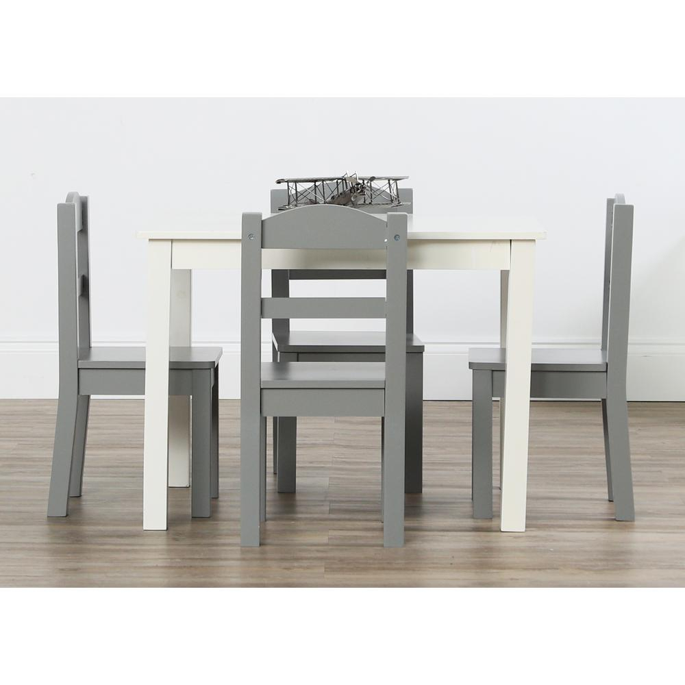 Tot Tutors Springfield 5 Piece White/grey Kids Table And Chair Set For 2018 Springfield 3 Piece Dining Sets (Photo 13 of 20)