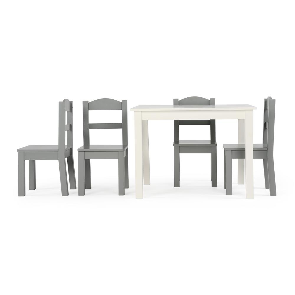 Tot Tutors Springfield 5 Piece White/grey Kids Table And Chair Set Throughout Most Recently Released Springfield 3 Piece Dining Sets (View 18 of 20)