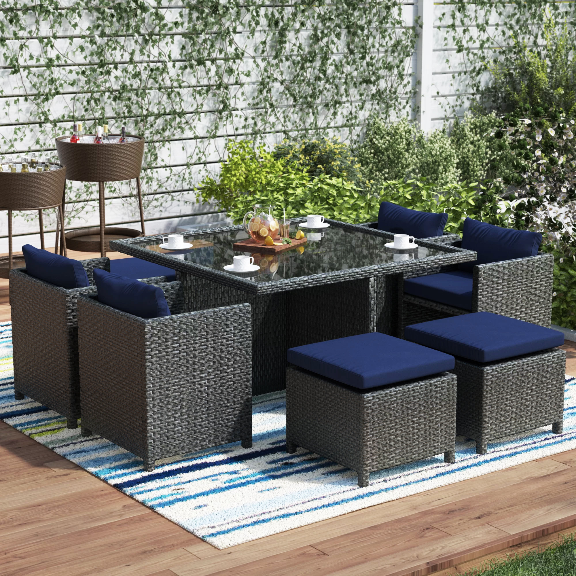 Tripp 9 Piece Dining Set With Cushion Regarding Latest Giles 3 Piece Dining Sets (Photo 8 of 20)