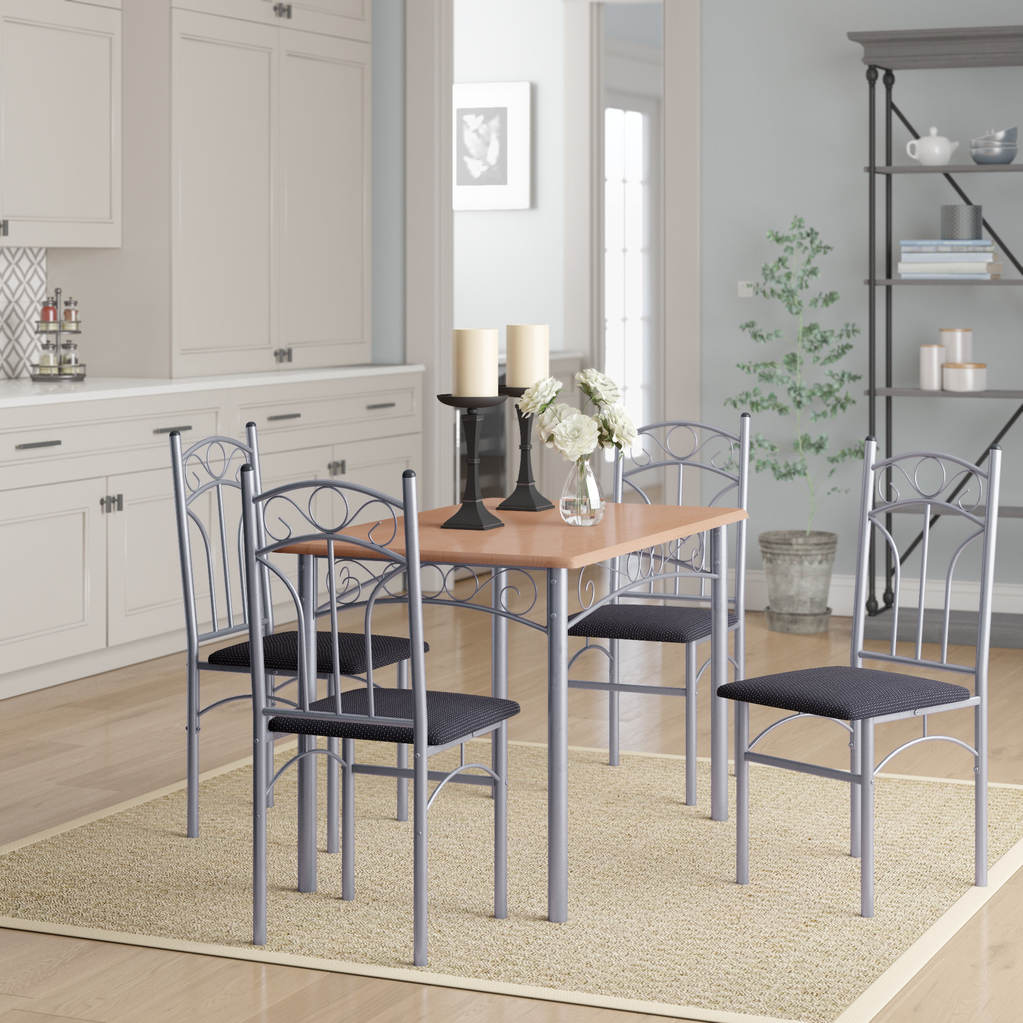 Turnalar 5 Piece Dining Set With Most Current Stouferberg 5 Piece Dining Sets (Image 19 of 20)