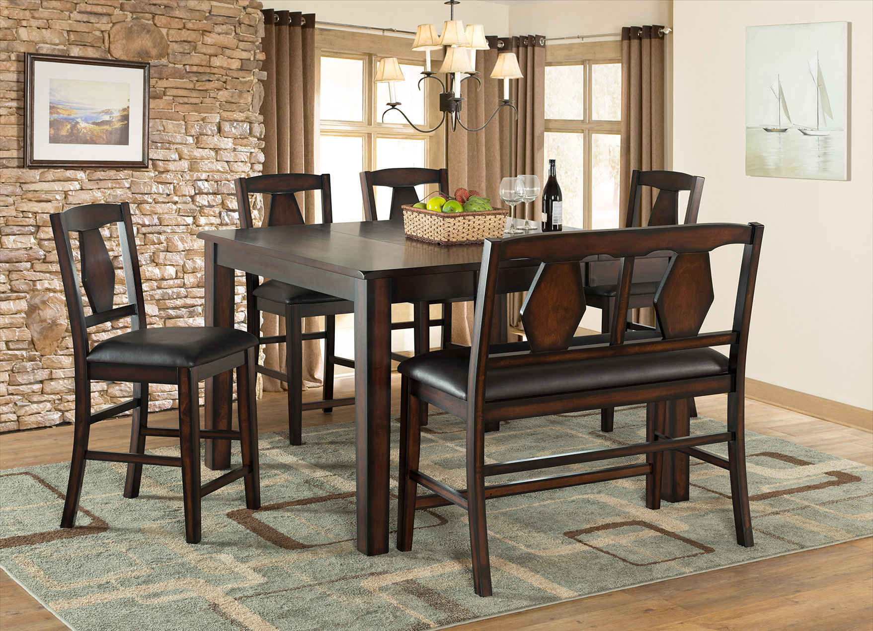 Tuscan Hills Extendable Dining Table Inside Most Up To Date Biggs 5 Piece Counter Height Solid Wood Dining Sets (Set Of 5) (View 5 of 20)