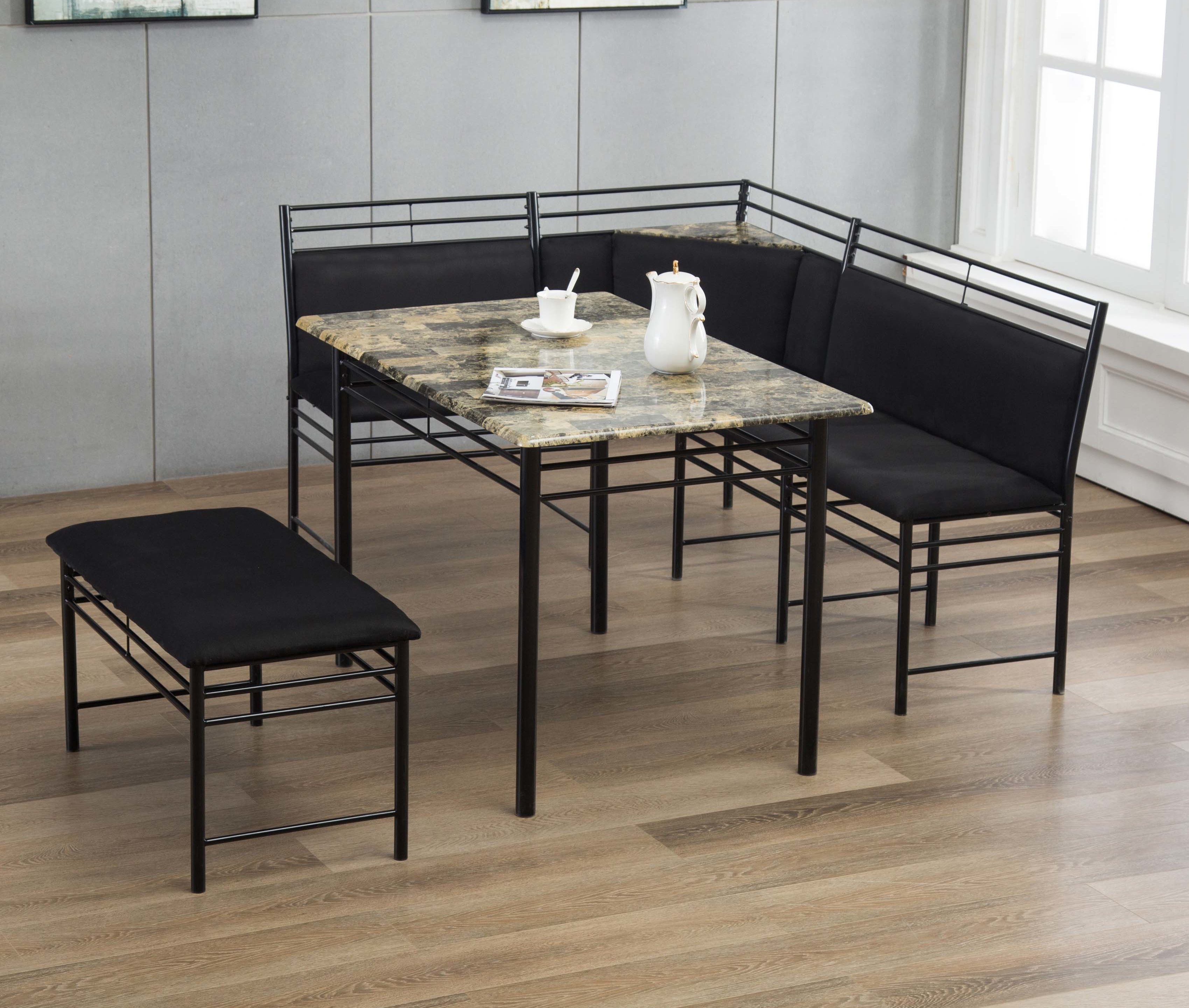 Tyrell 3 Piece Breakfast Nook Dining Set Pertaining To Most Up To Date 3 Piece Breakfast Dining Sets (Photo 1 of 20)