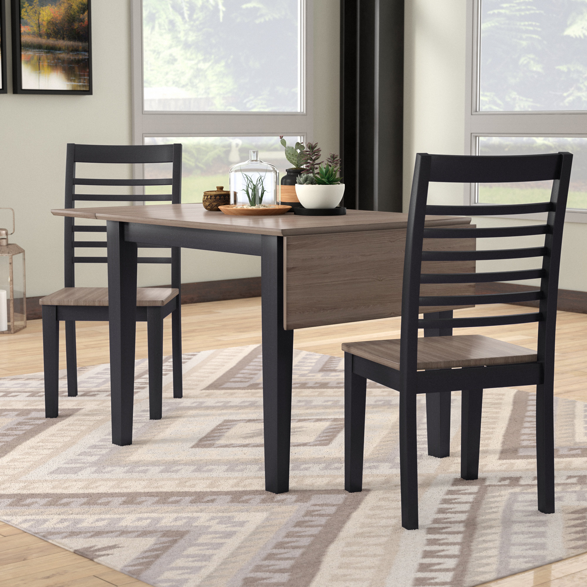 Union Rustic Shepherd 3 Piece Dining Set Pertaining To Recent Kernville 3 Piece Counter Height Dining Sets (Photo 7 of 20)