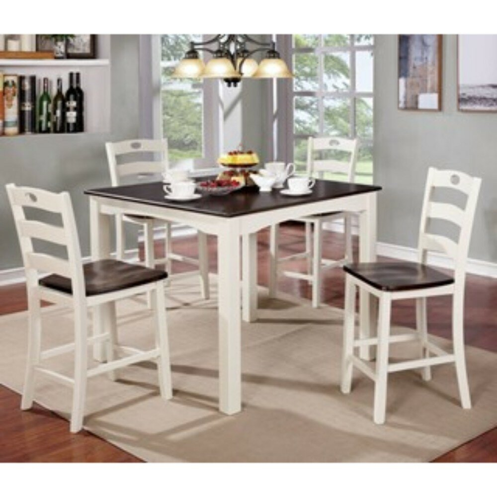 Valladares 5 Piece Solid Wood Dining Set For Best And Newest Valladares 3 Piece Pub Table Sets (View 4 of 20)