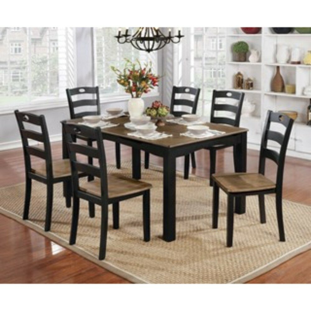 Valladares 7 Piece Solid Wood Dining Set Within Most Current Valladares 3 Piece Pub Table Sets (View 5 of 20)