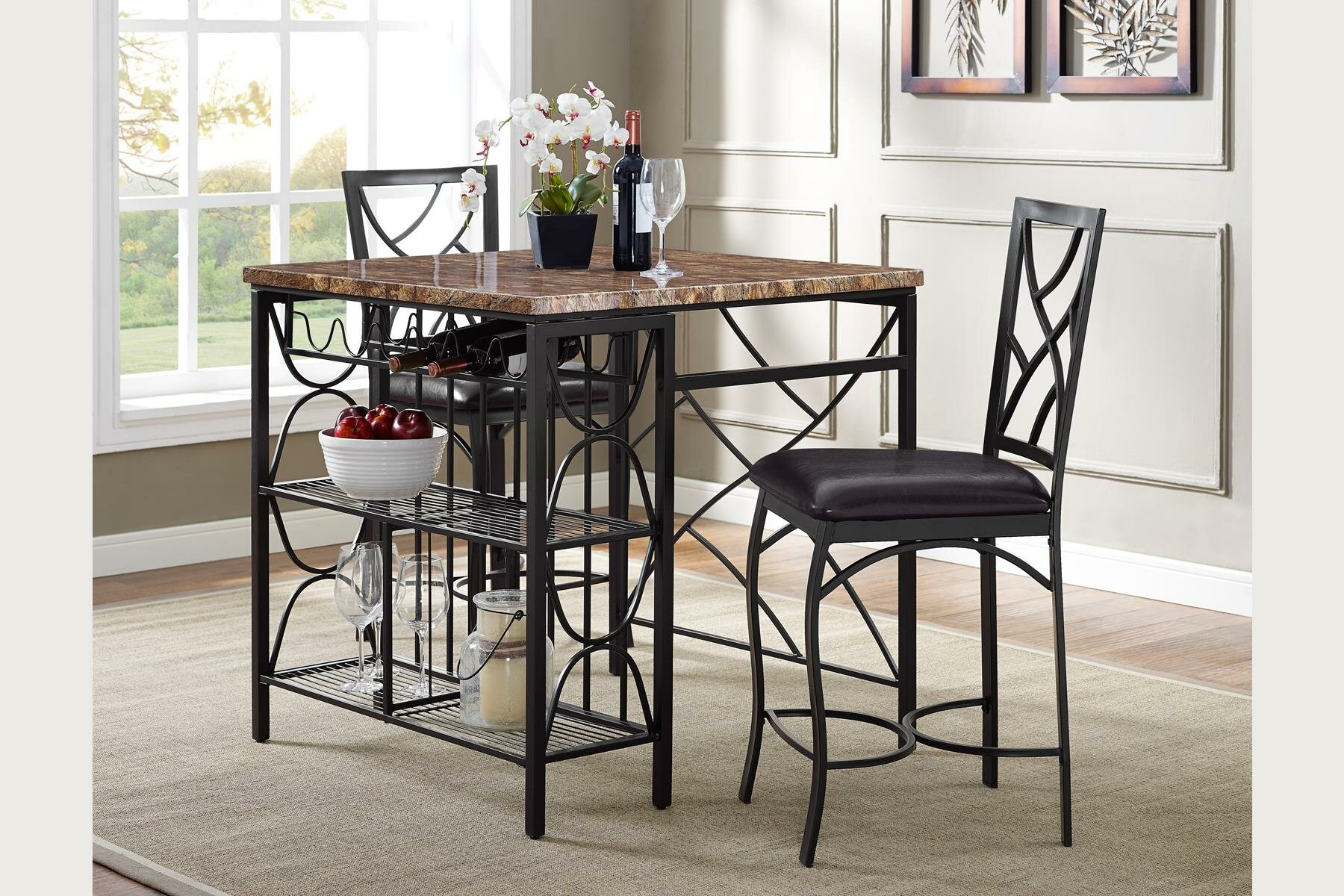 Vaughan Kitchen 3 Piece Breakfast Nook Dining Set Throughout Best And Newest 3 Piece Breakfast Dining Sets (Photo 14 of 20)